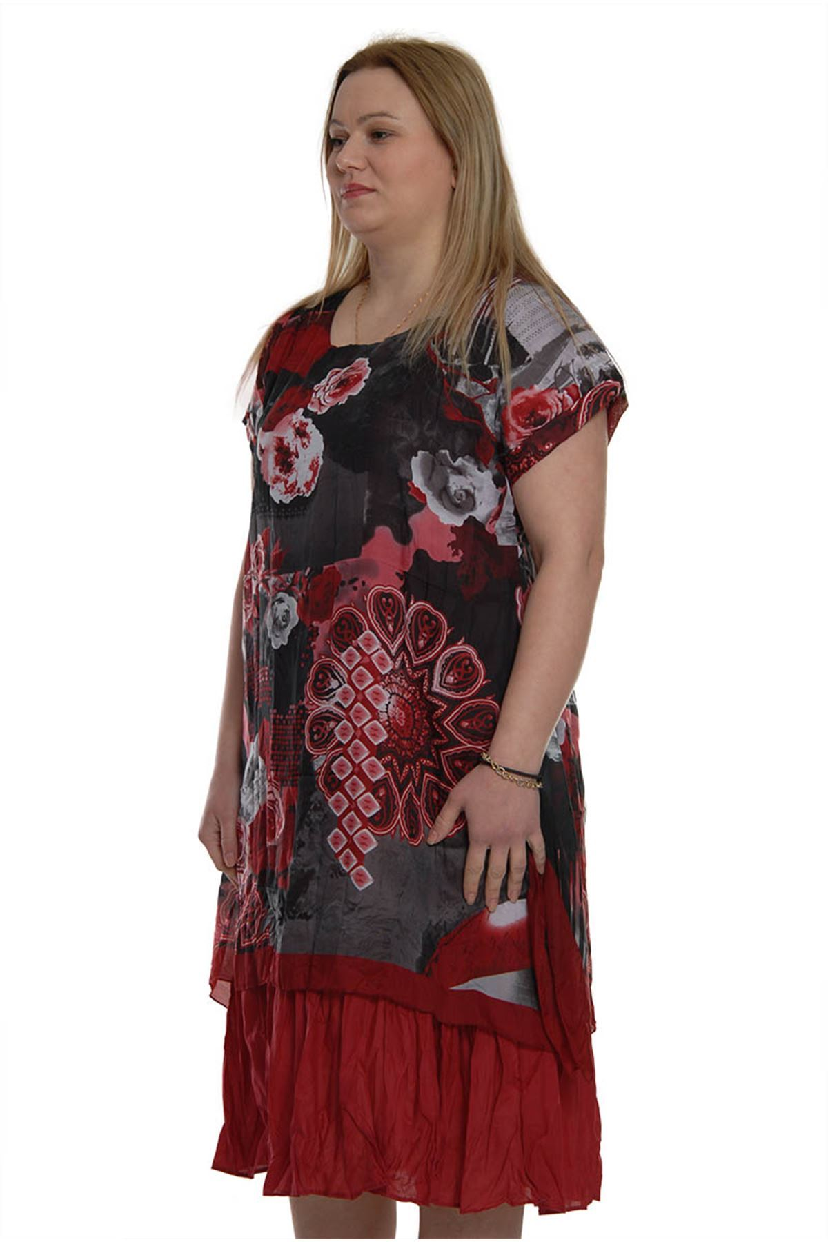 Büyük Beden Yazlık Elbise 16C-1018
