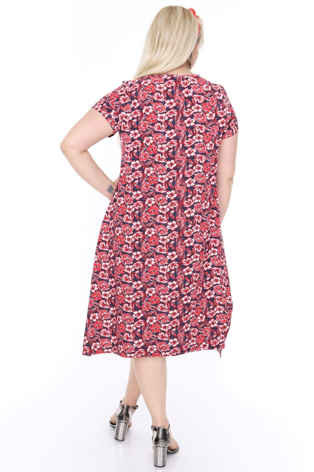 Çiçek Desenli Salaş Elbise 5B-69786