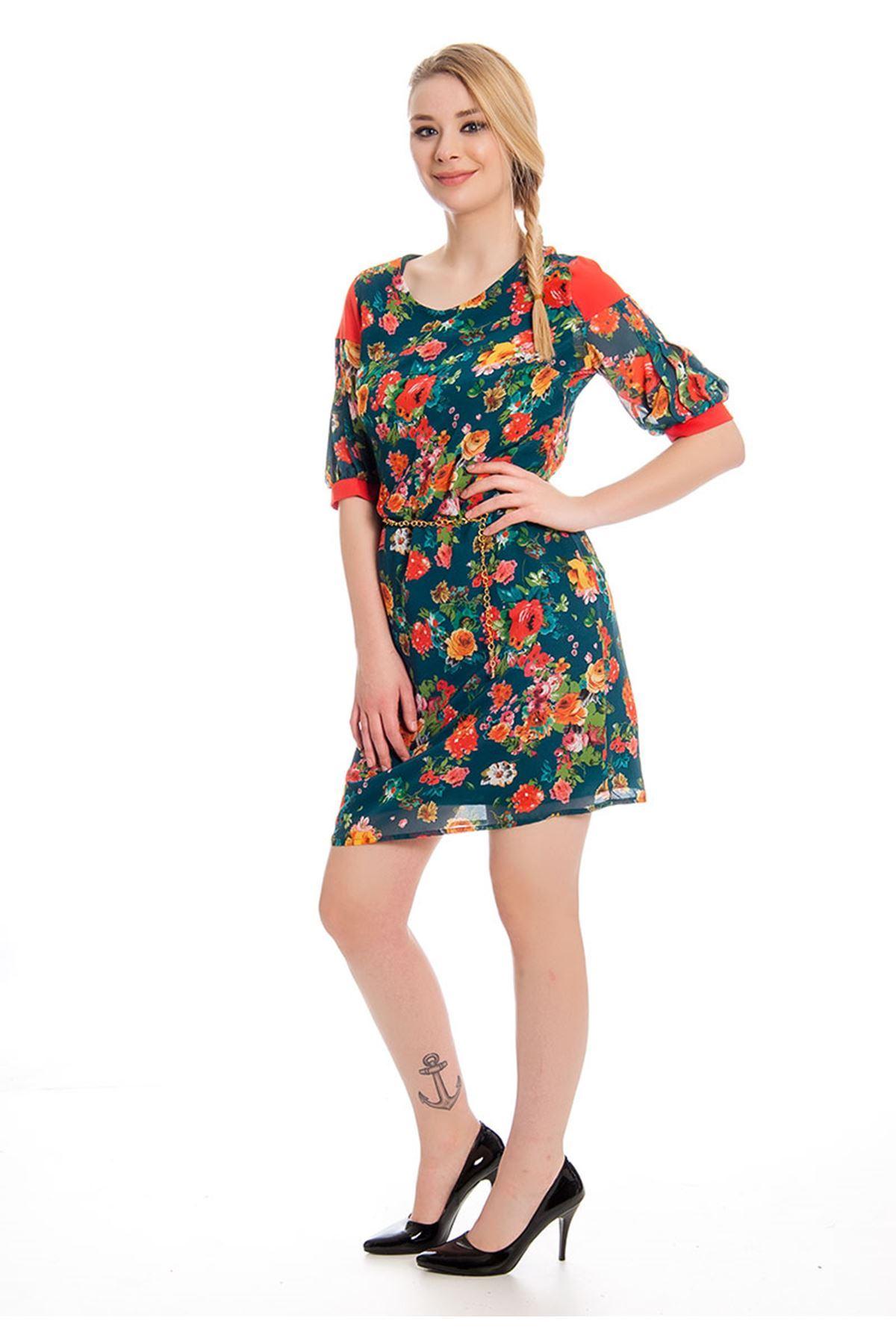 Çiçek Desenli Kadın Elbise J11-127933
