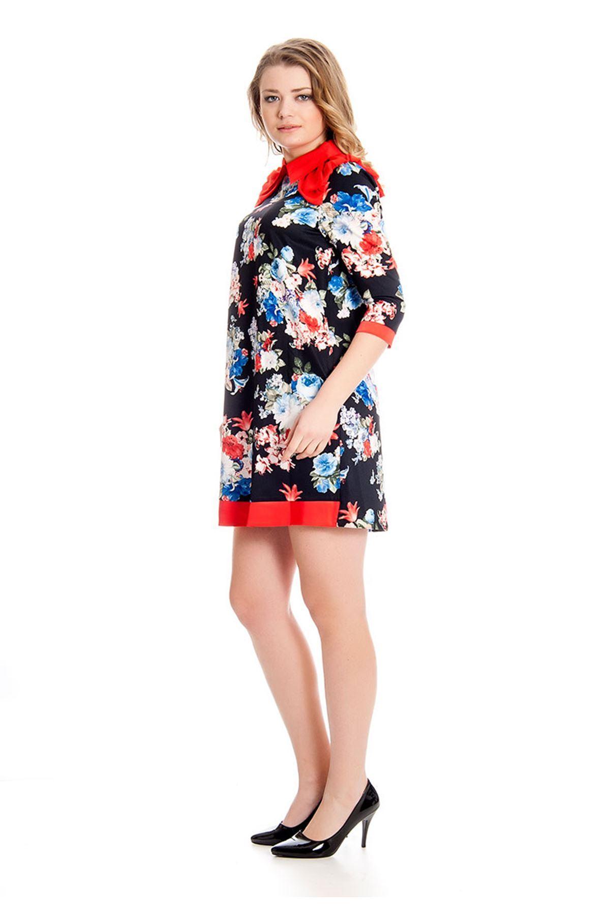 Çiçek Desenli Bebe Yaka Kadın Elbise G4-126518