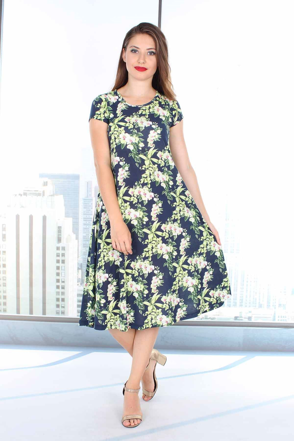 Çiçek Desenli Kloş Elbise 21B-0623