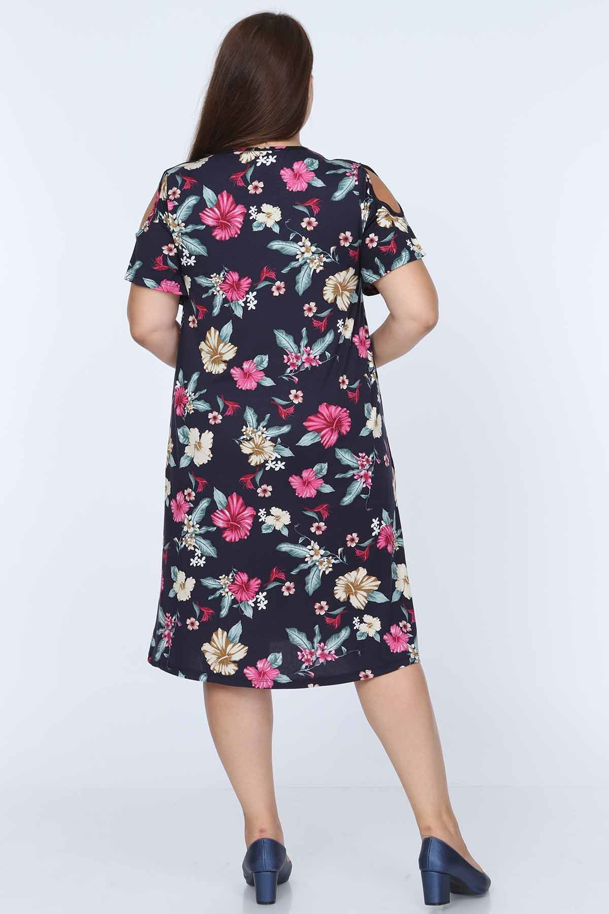 Çiçek Desenli Likralı Viskon Elbise 7C-0682