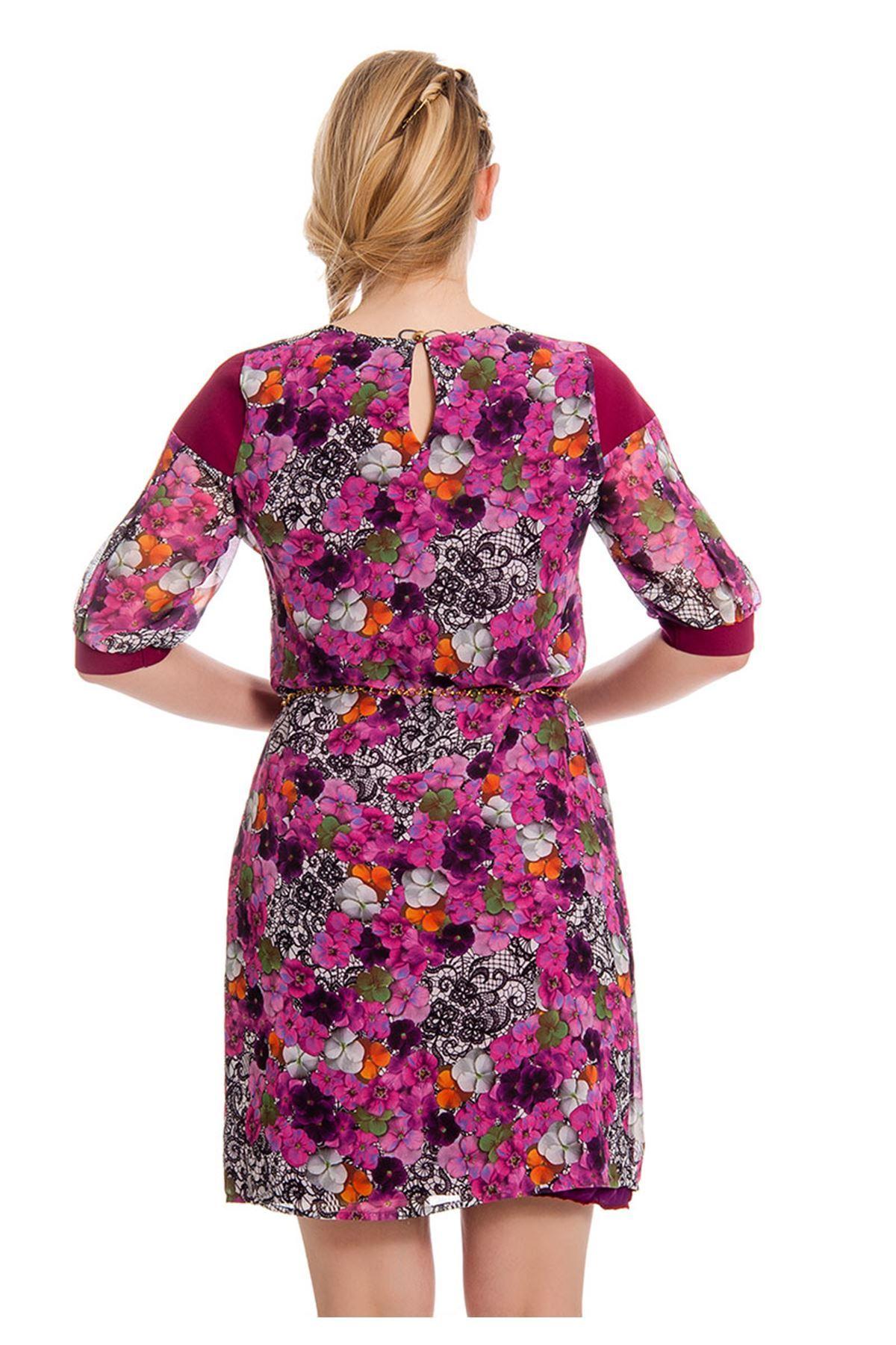 Çiçek Desenli Kadın Elbise I4-127945