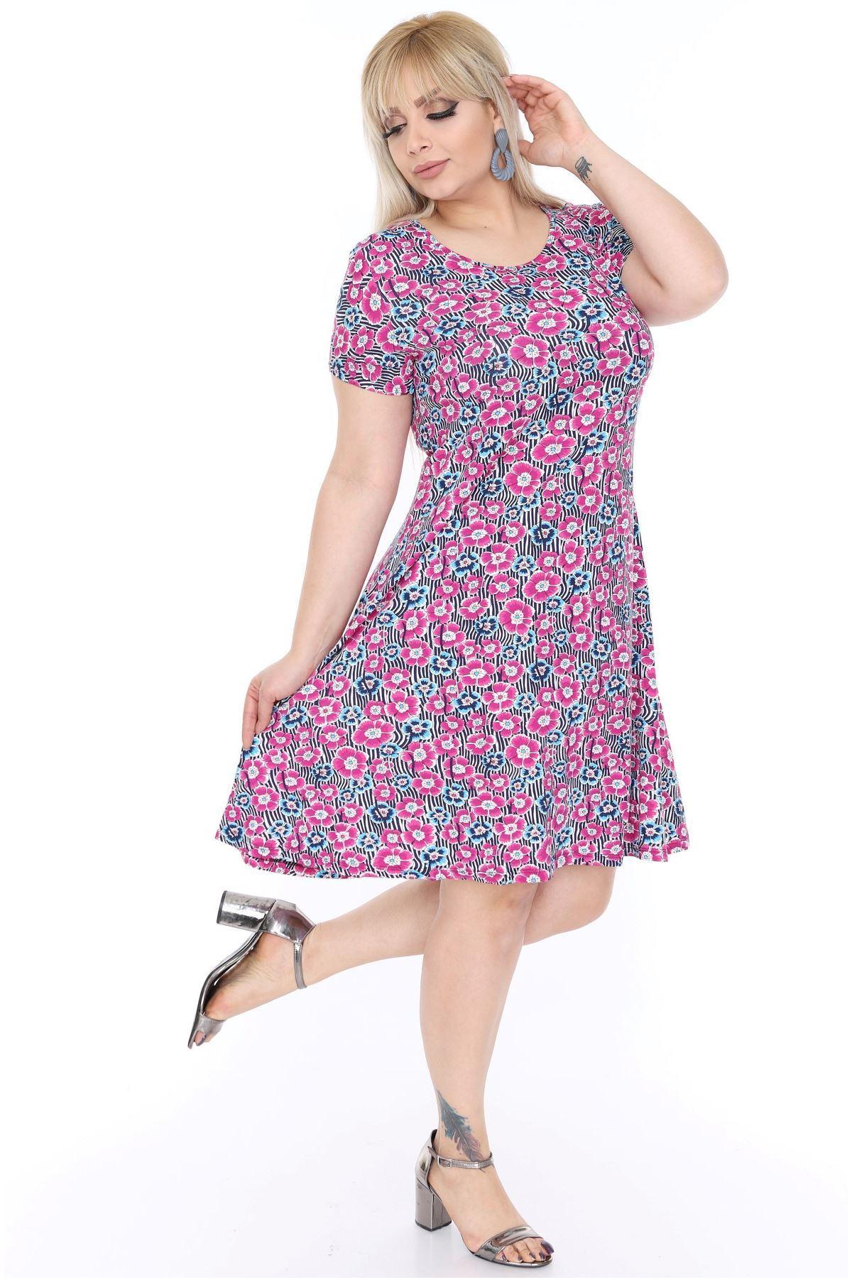 Çiçekli Kloş Elbise 21C-67877