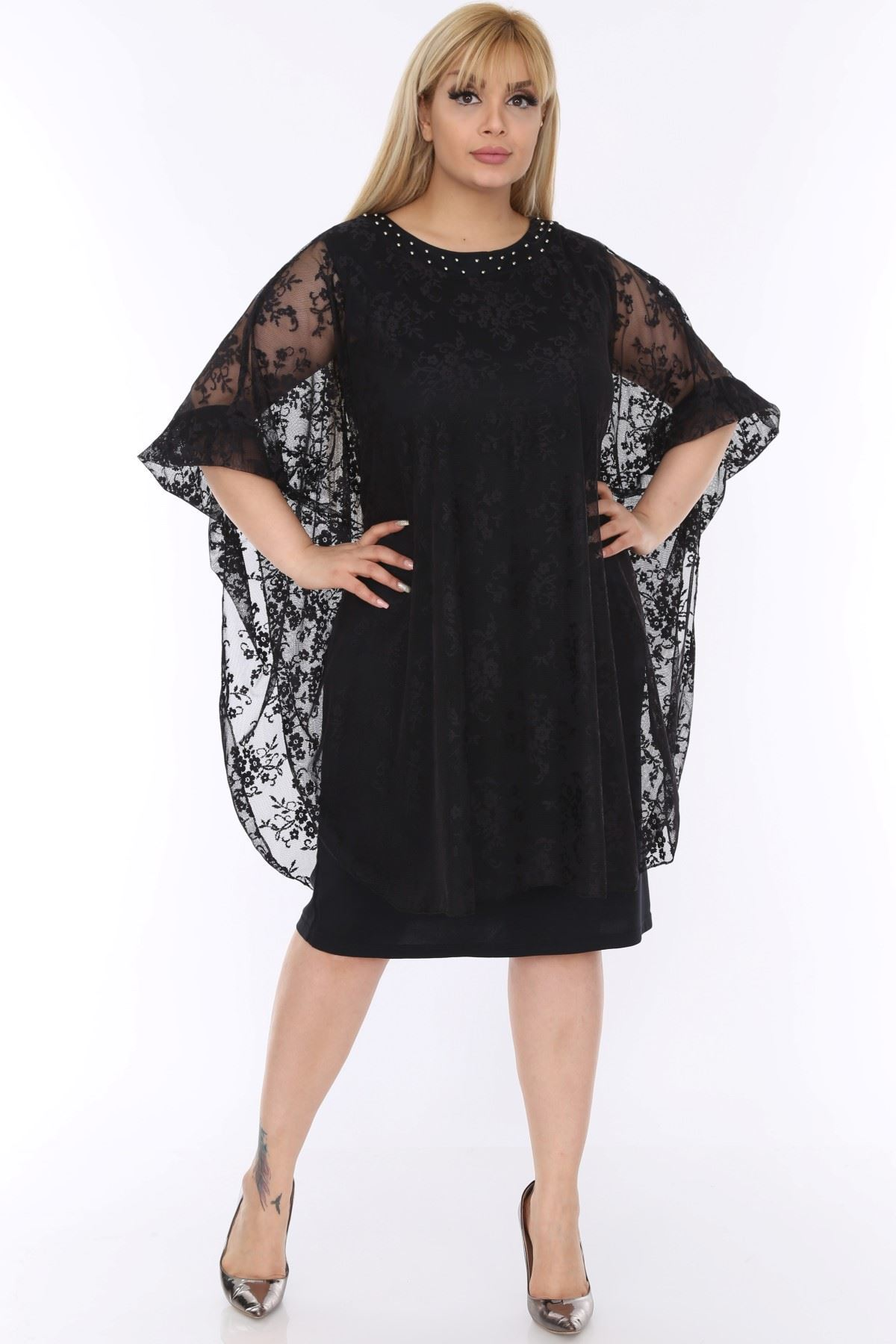 Dantelli Siyah Abiye Elbise 2B-0492