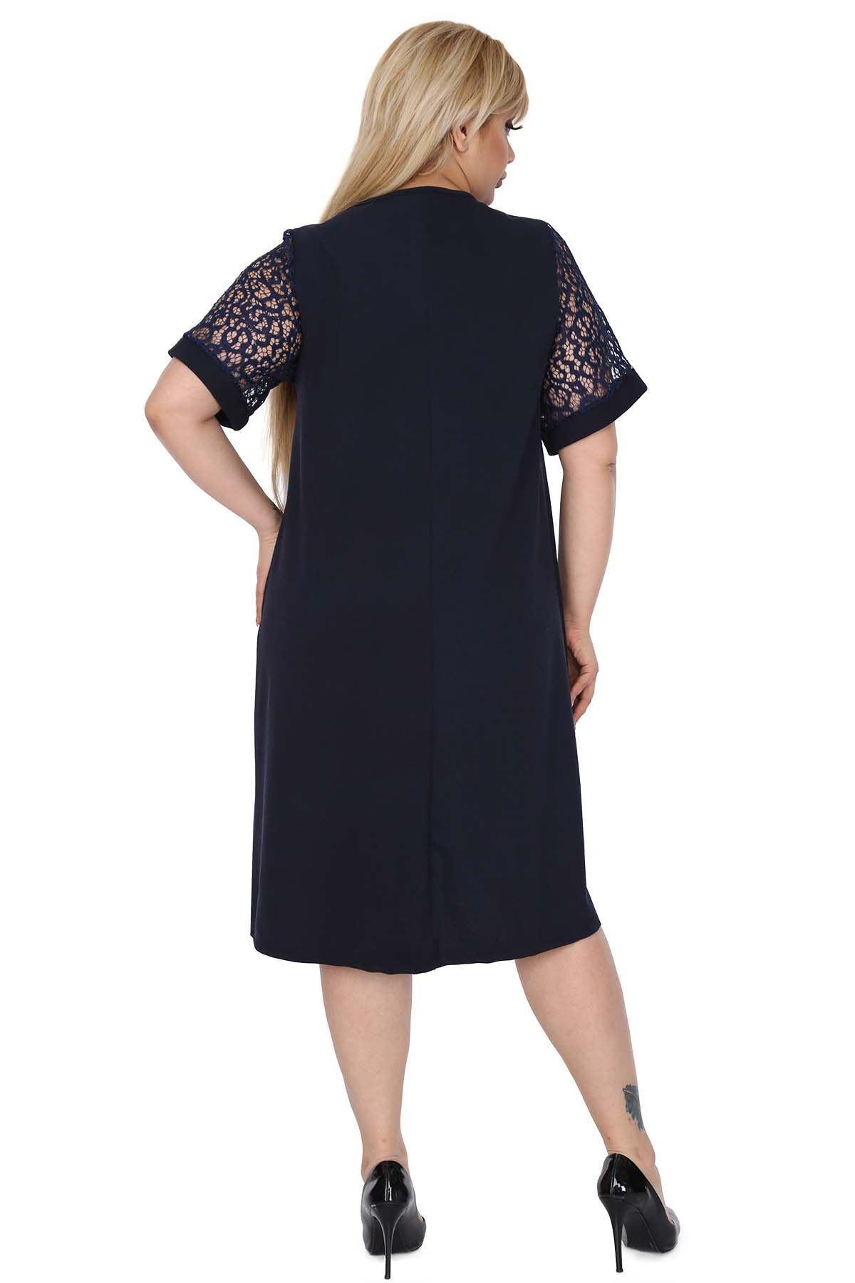Dantel Kol Lacivert Elbise 9D-0523