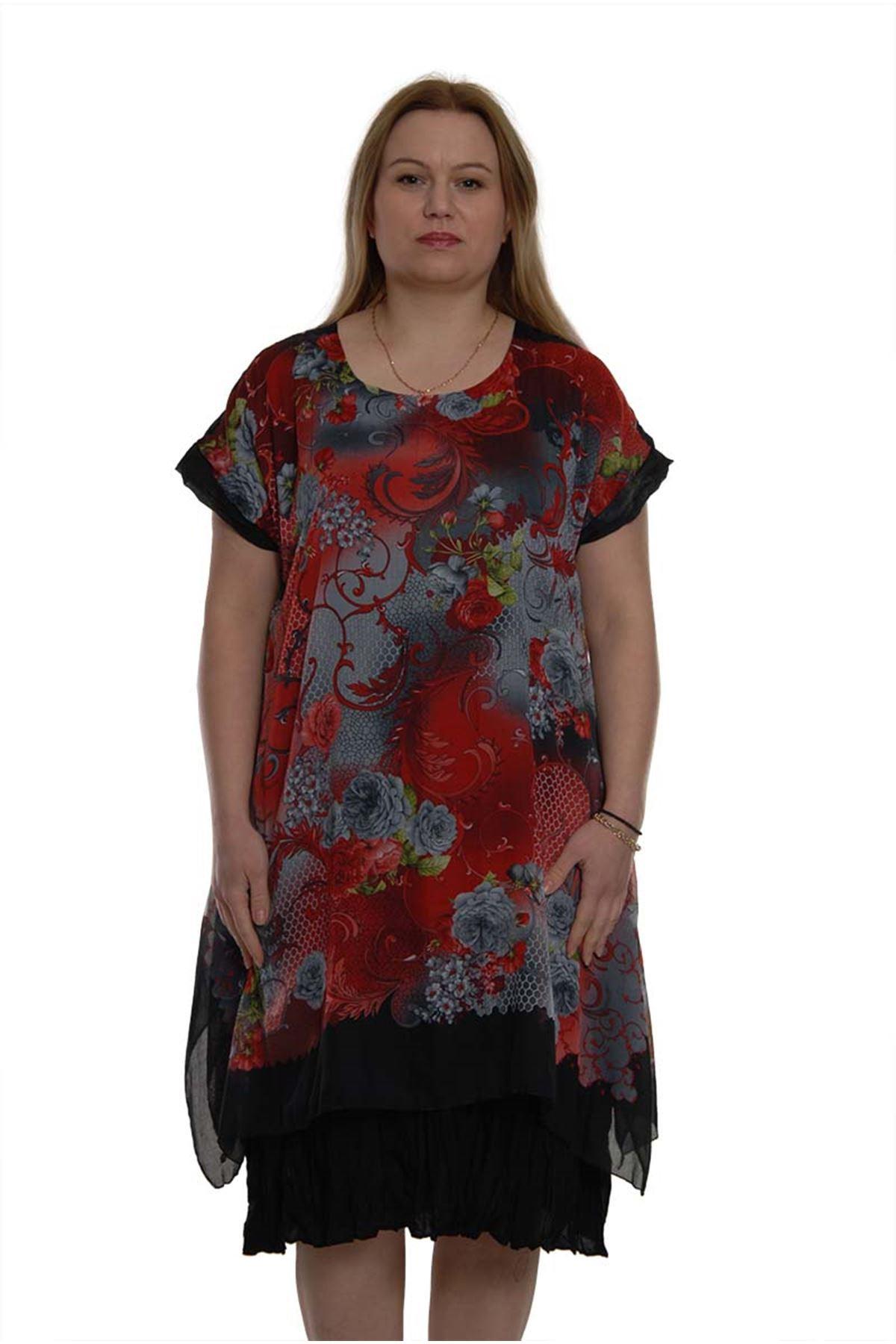 Desenli Çiçekli Elbise 16C-1007