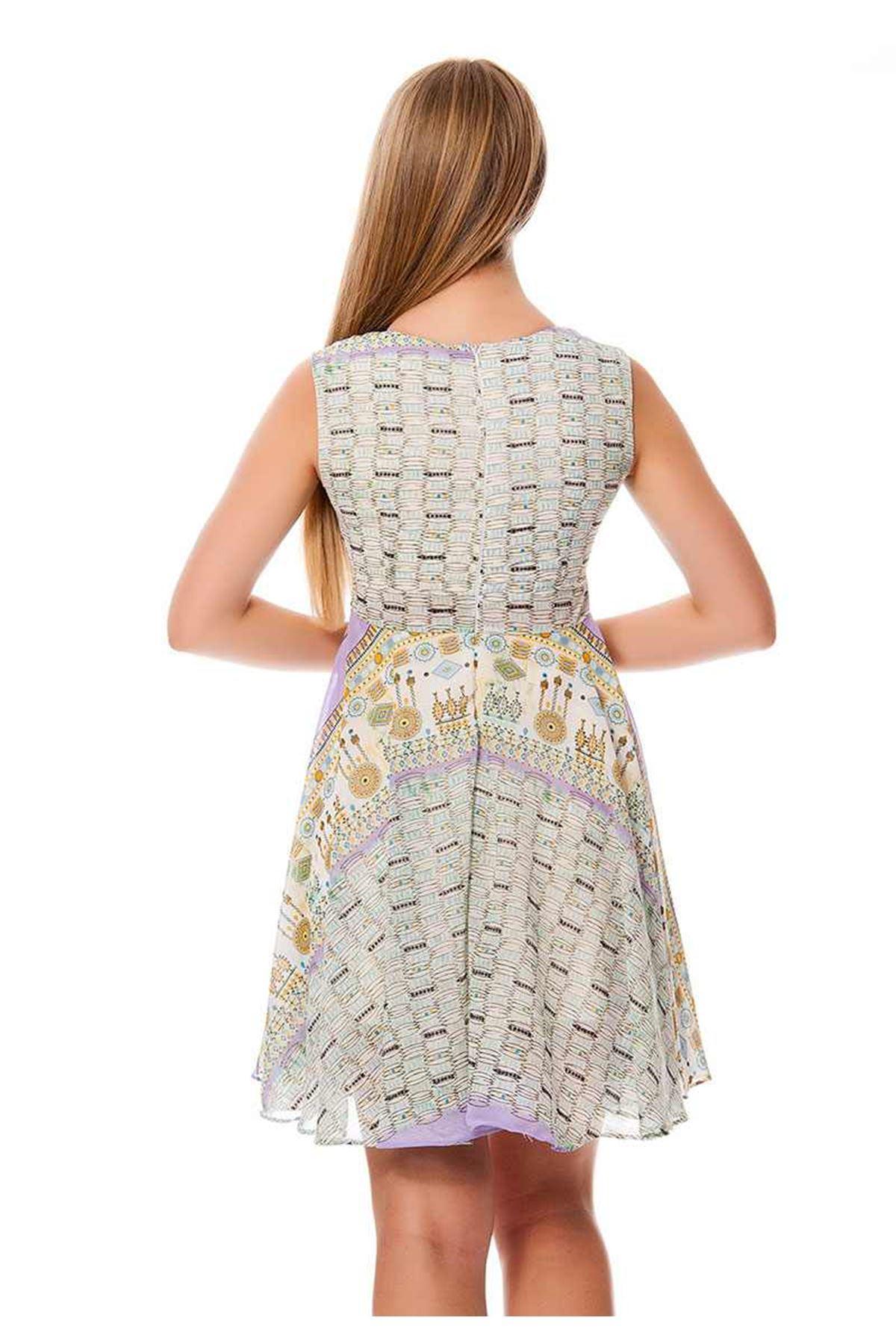 Desenli Kadın Elbise K4-117059