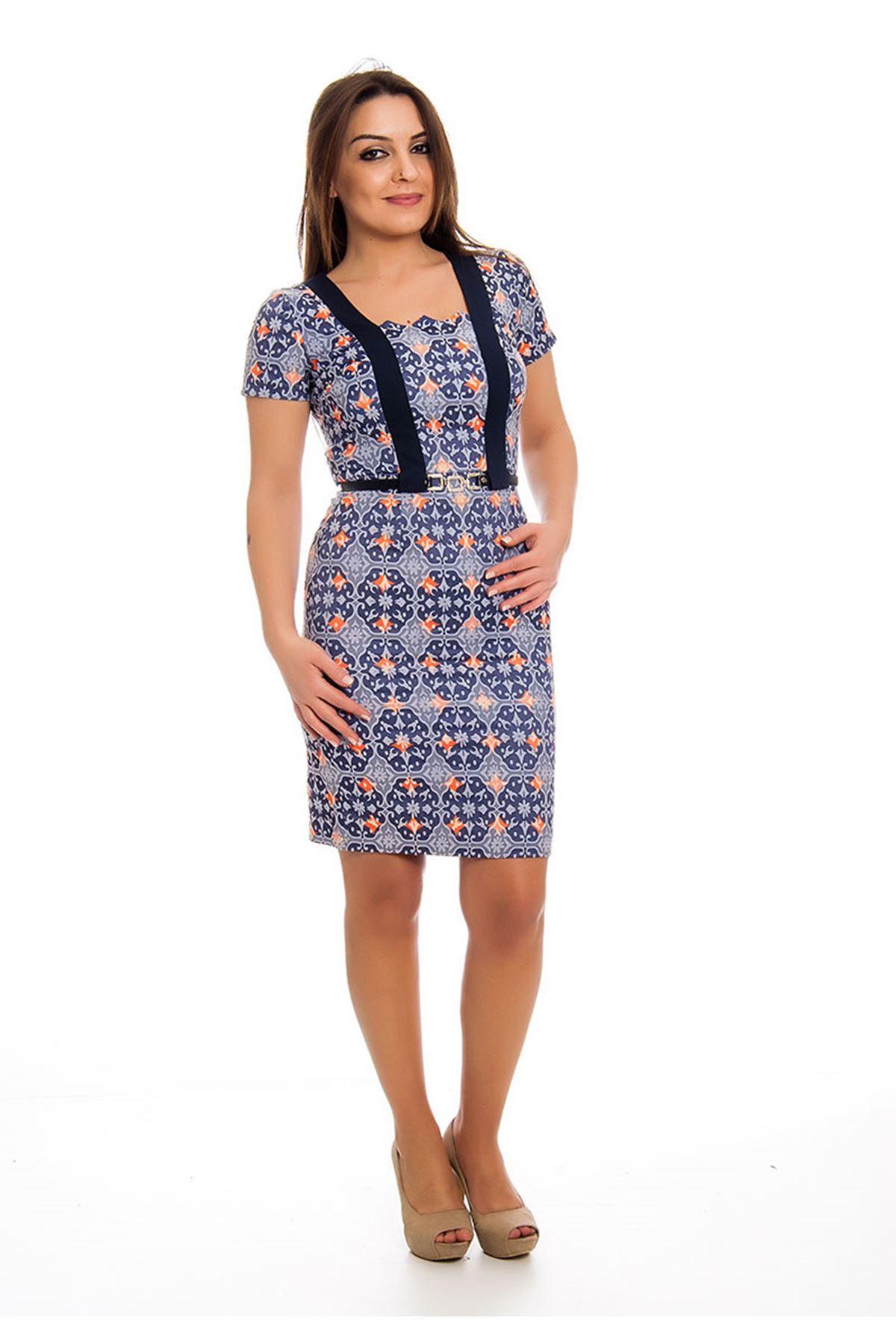 Desenli Kemerli Kadın Elbise K12-124457