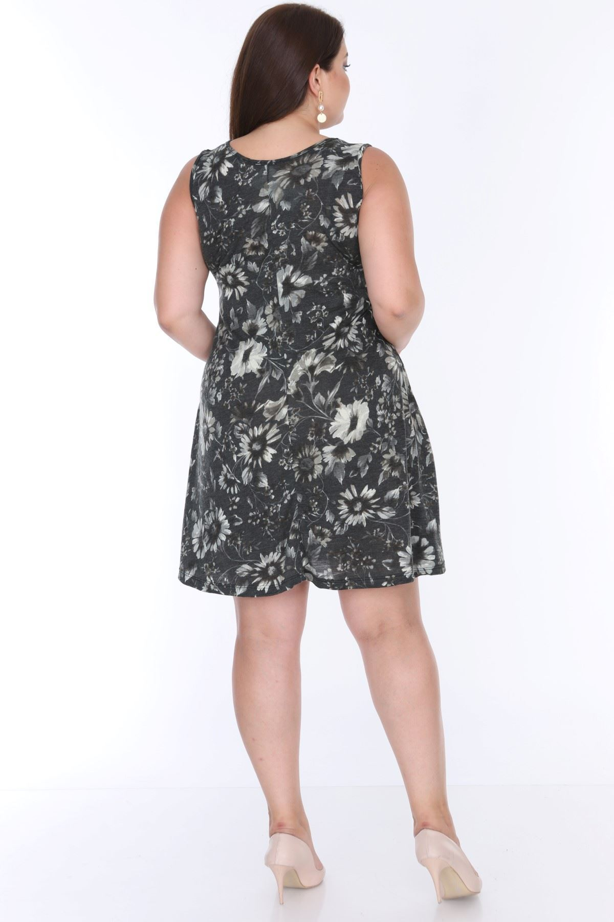 Desenli Kolsuz Elbise 21B-0627