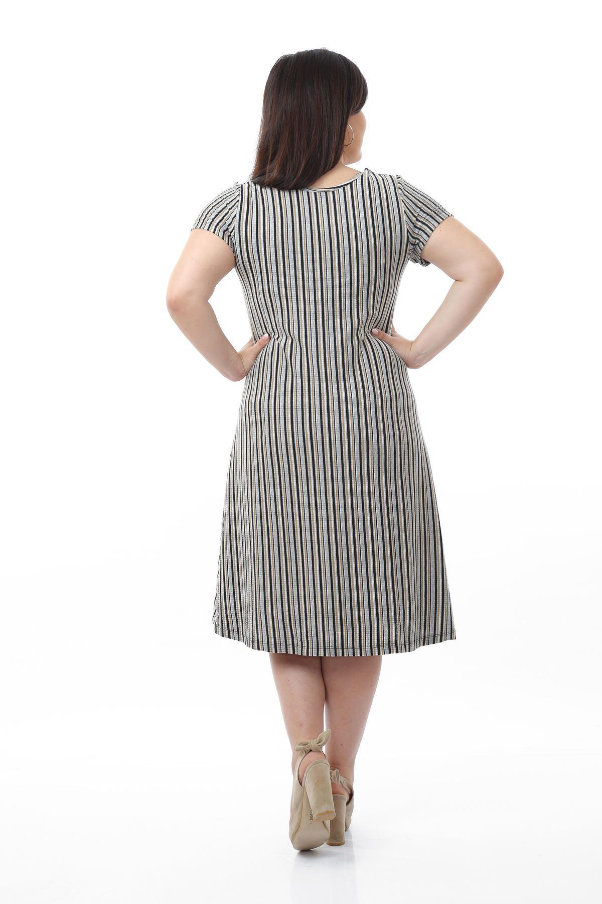 Dikine Çizgili Elbise 10C-0677