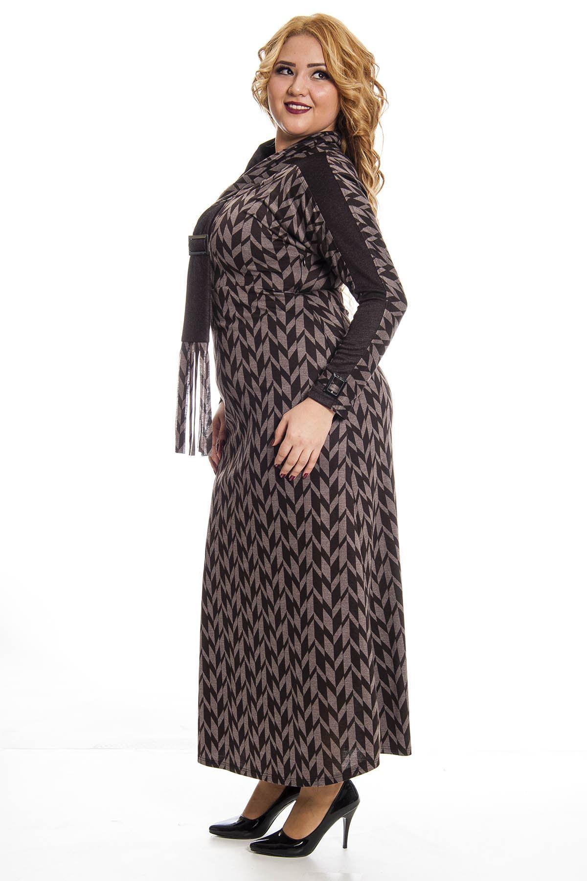 Desenli Yaka Detaylı Uzun Elbise F7-122886