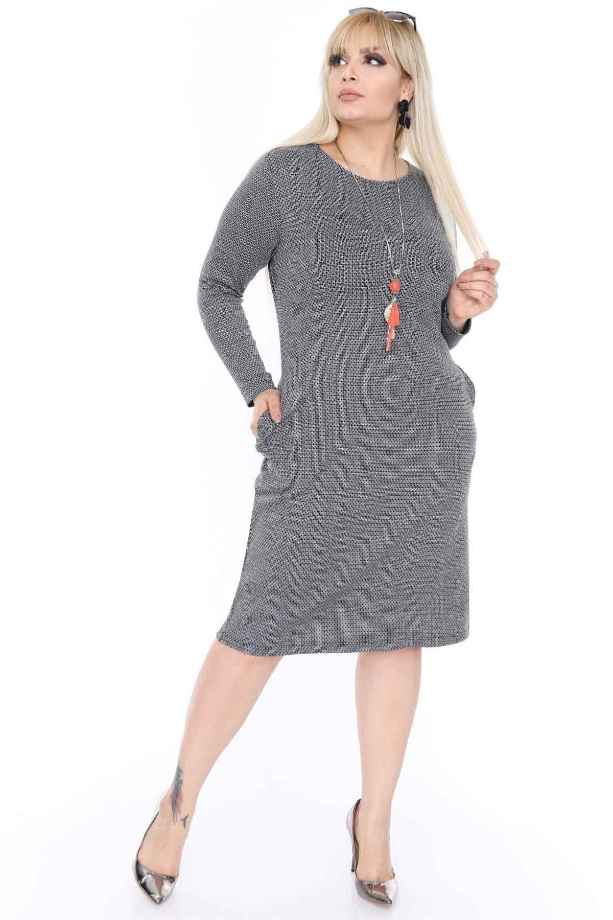 Esnek Cepli Büyük Beden Elbise 3D-0392