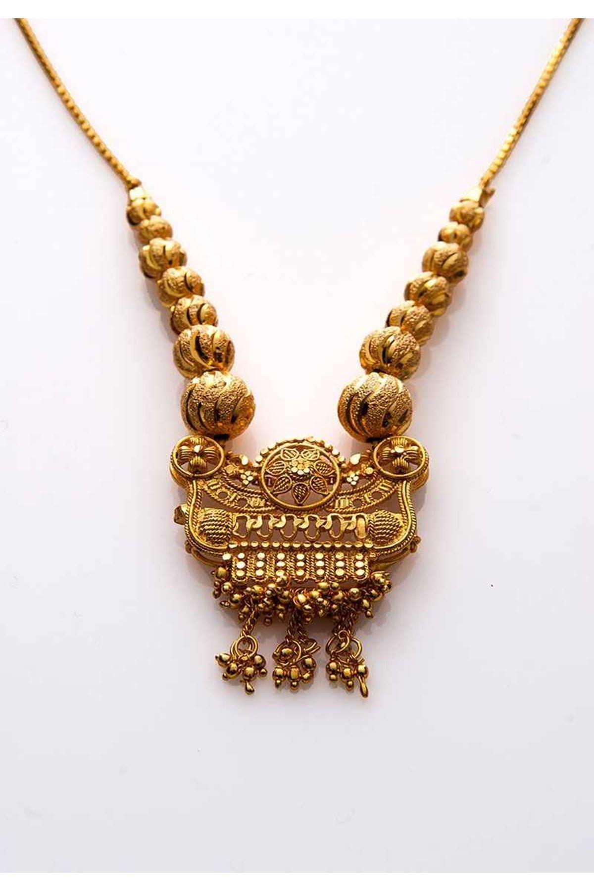 Gold Boncuk Kolye 8Ç-108027