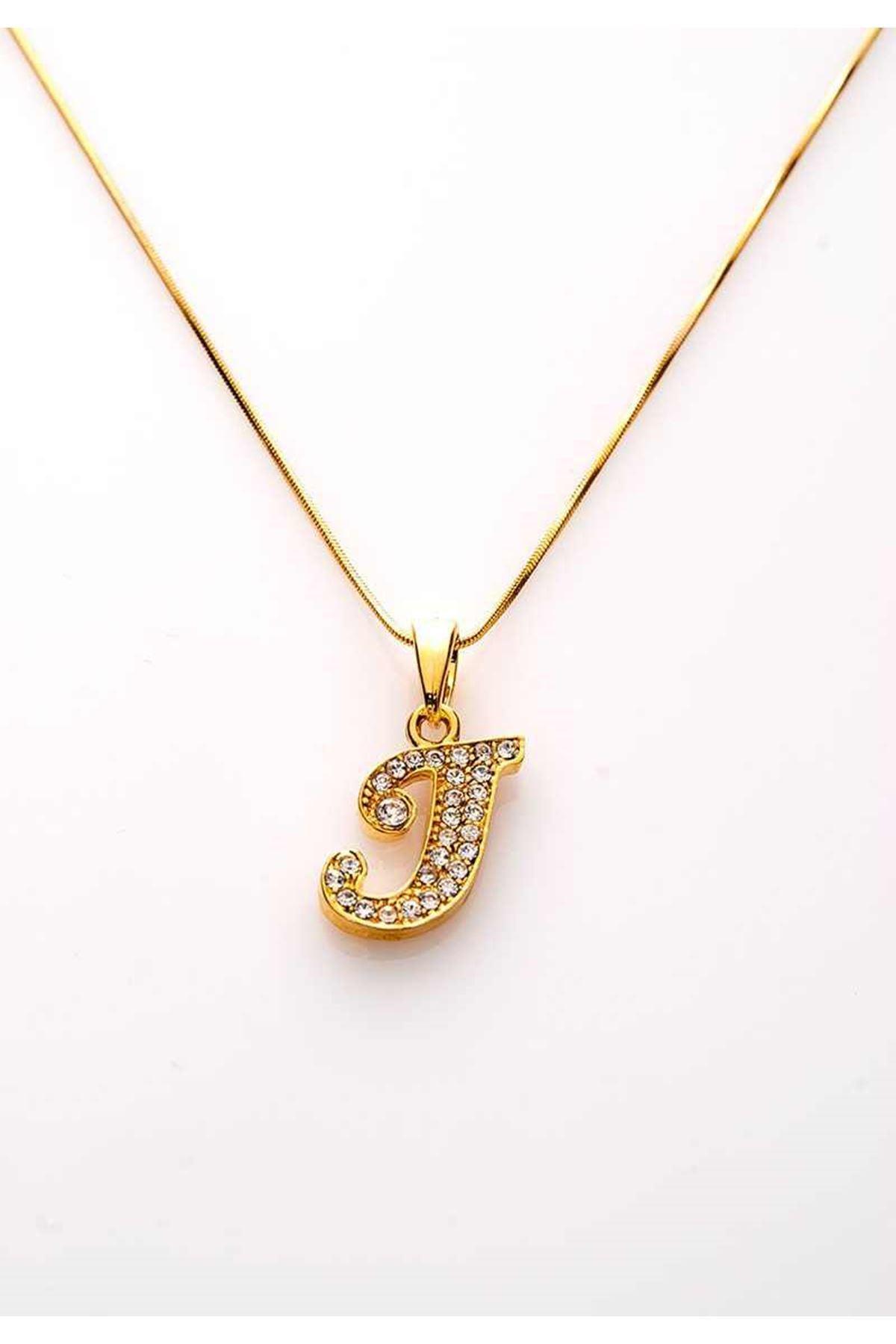 Gold Taşlı J Harf Kolye 11Ç-107846