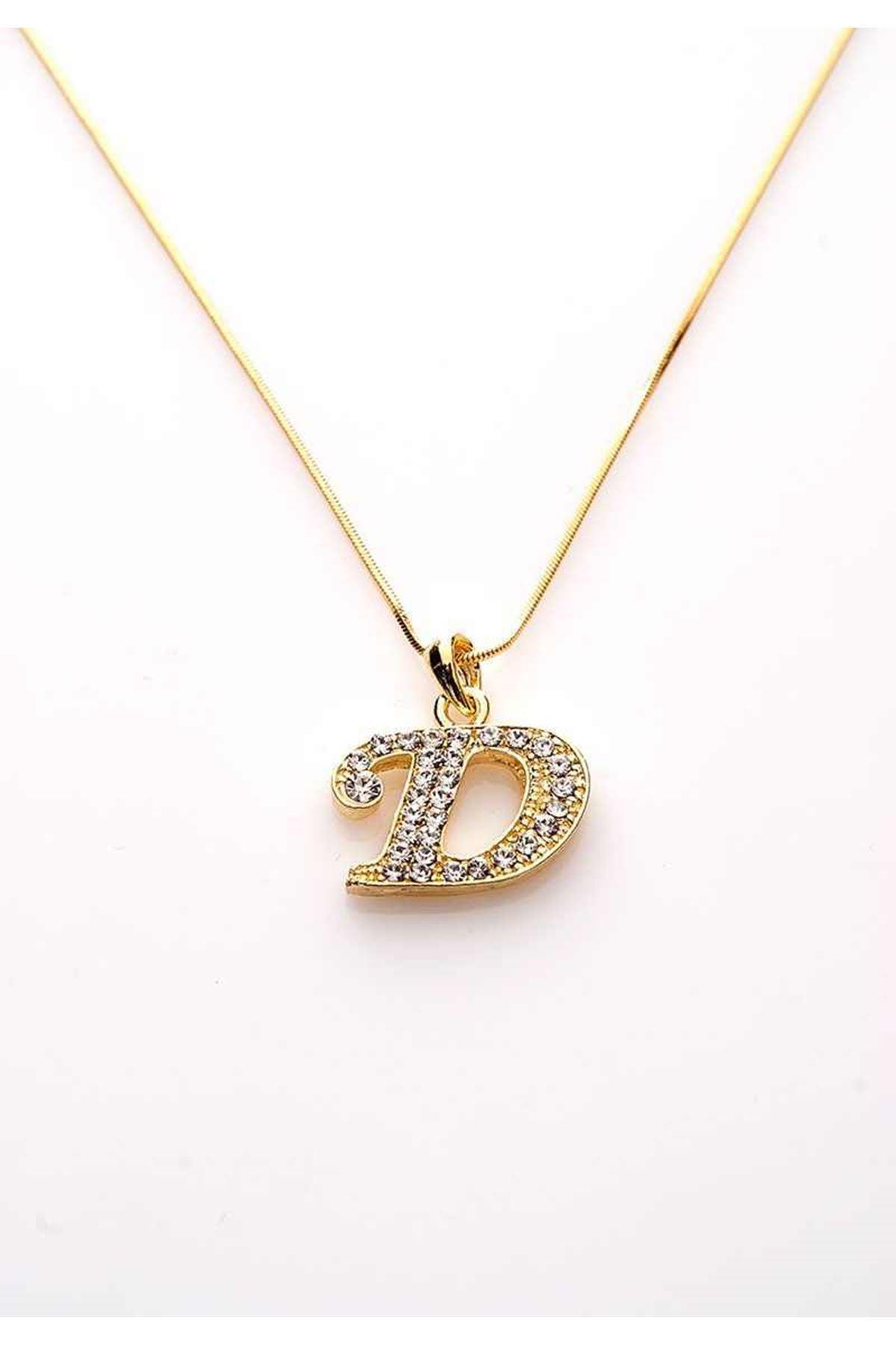 Gold Taşlı D Harf Kolye 11Ç-107840