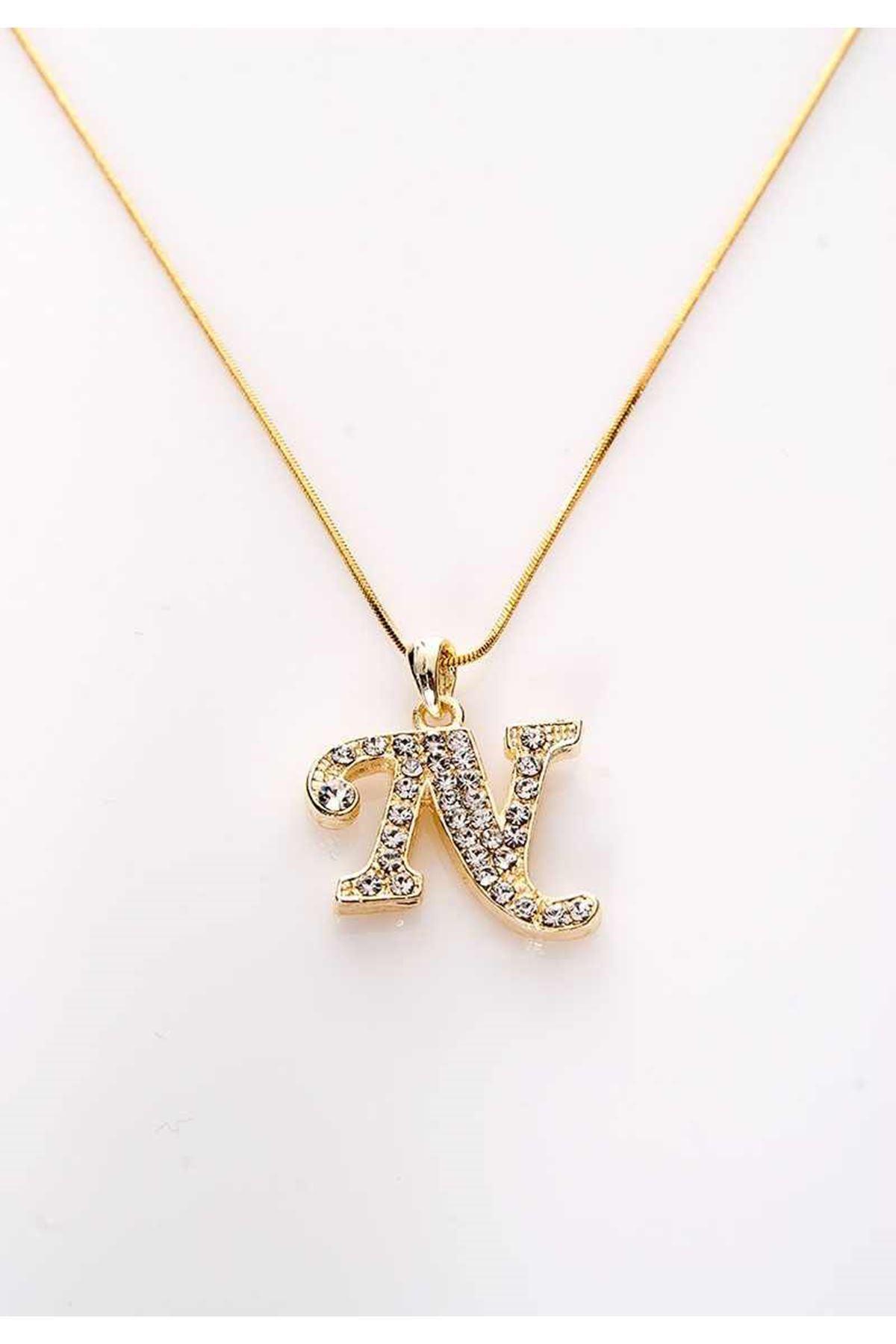 Gold Taşlı N Harf Kolye 11Ç-107851