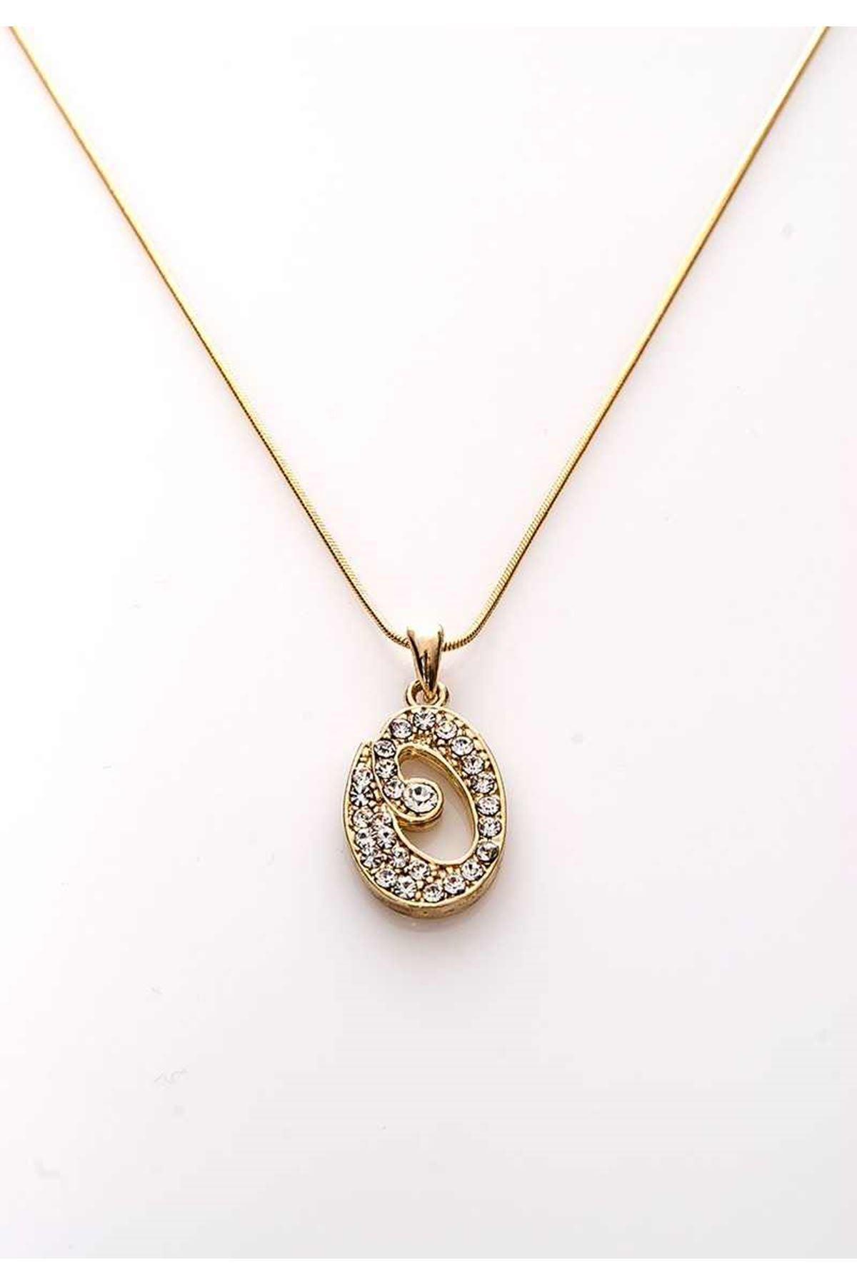 Gold Taşlı O Harf Kolye 11Ç-107852