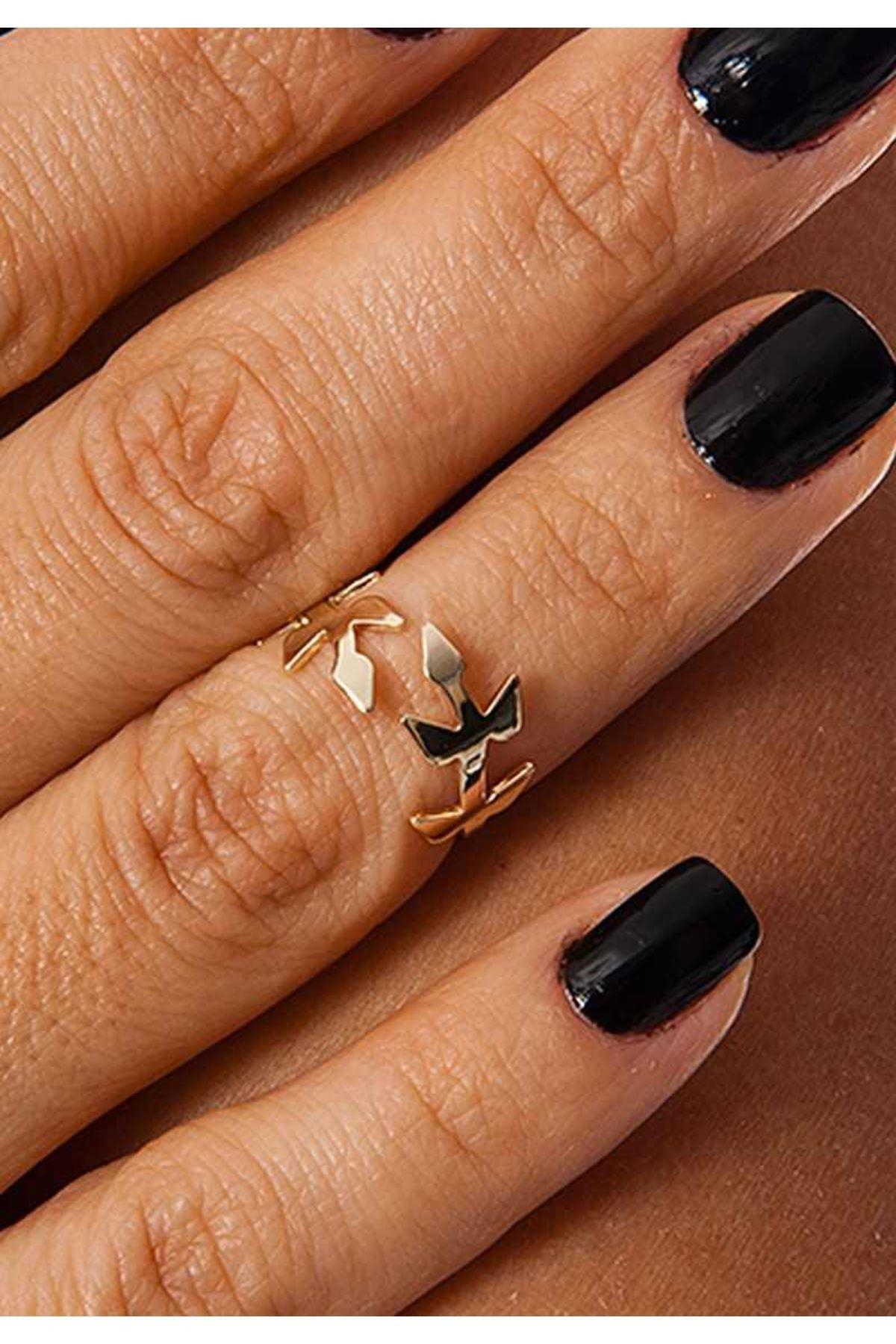 Gold Yaprak Eklem Yüzüğü 2Ç-109103