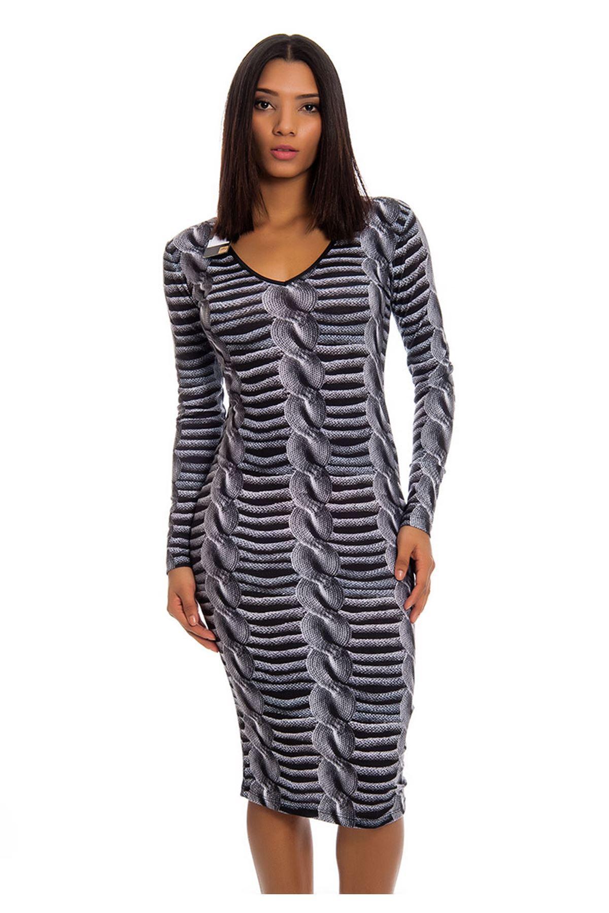 Gri Desenli V Yaka Kadın Elbise H8-123792