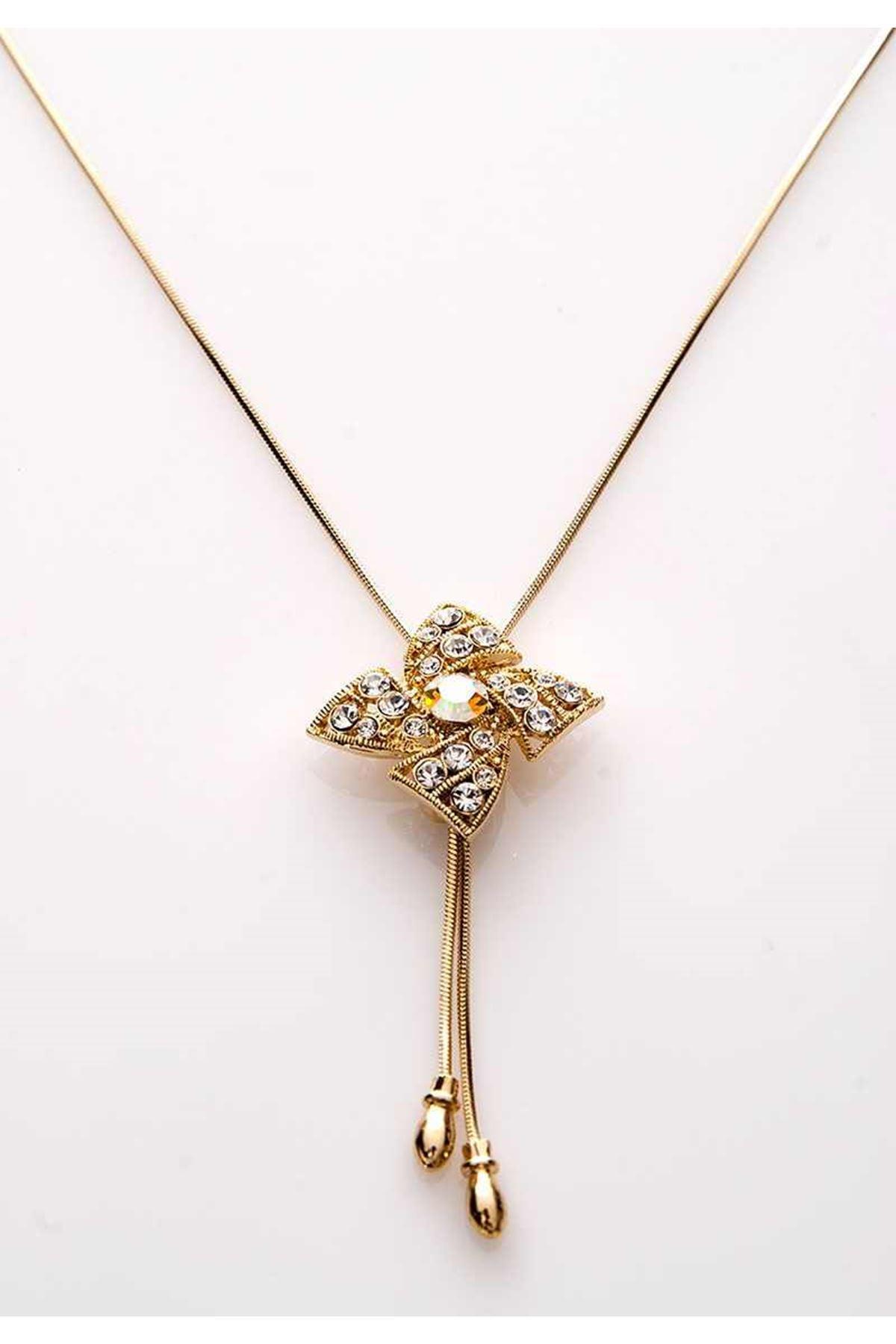 Gold Taşlı Yıldız Kolye 11Ç-107824