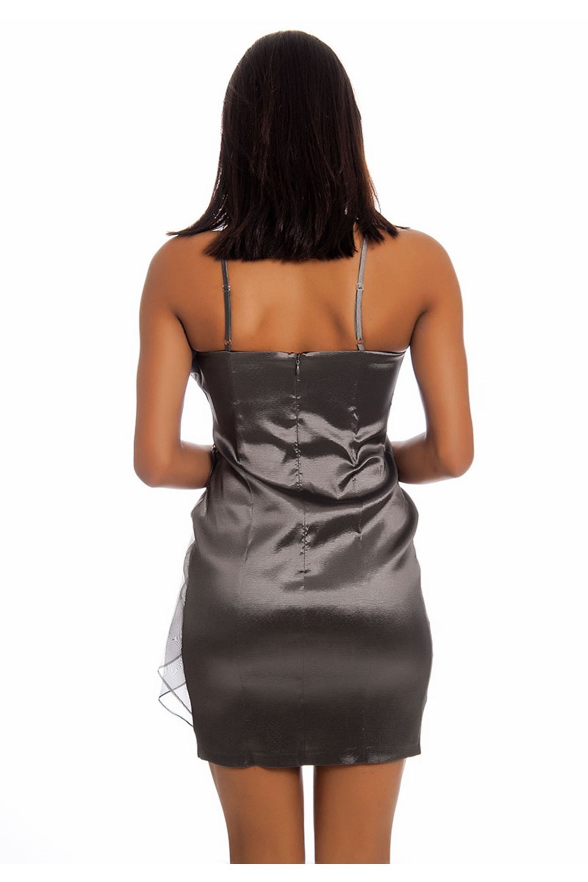 Gri Pullu Abiye Elbise I12-125750