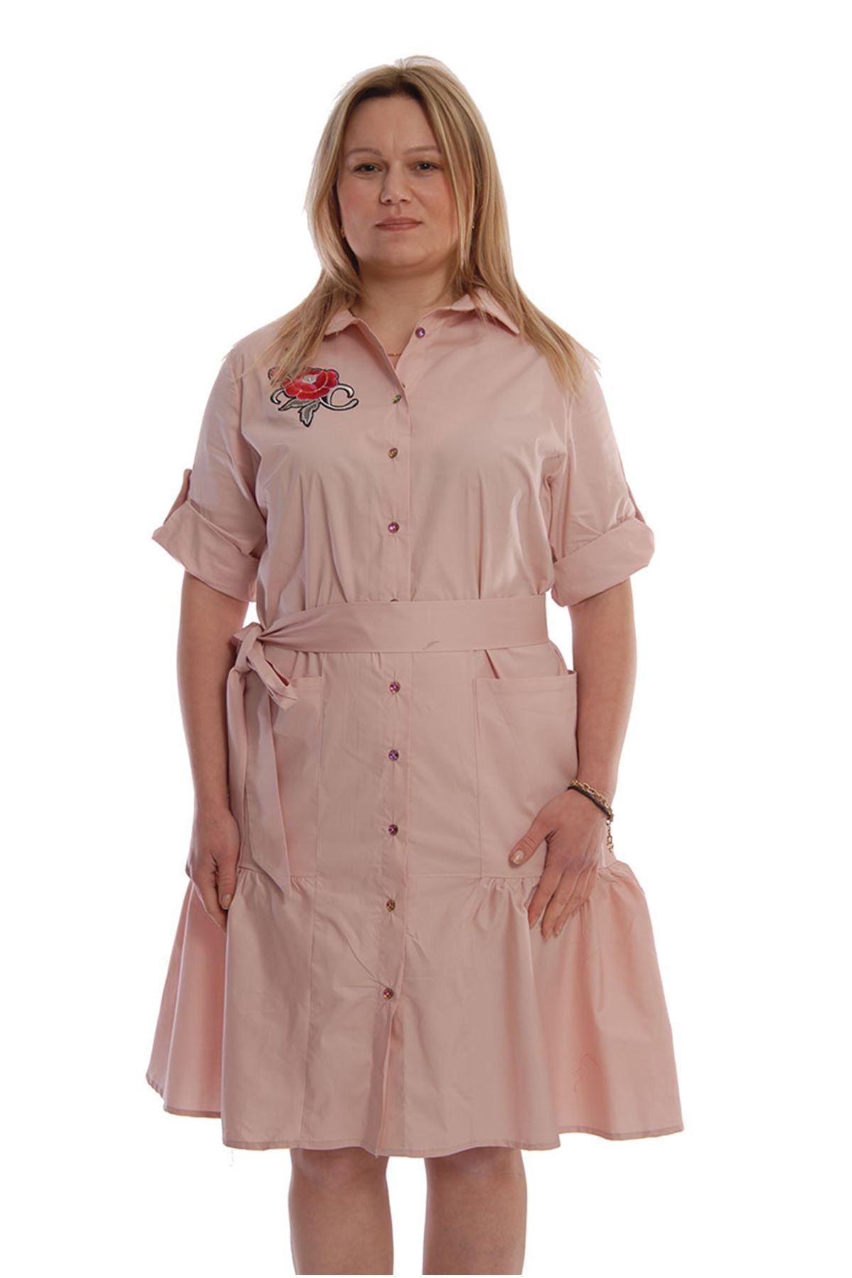 Gül Nakışlı Pudra Elbise F7-67430