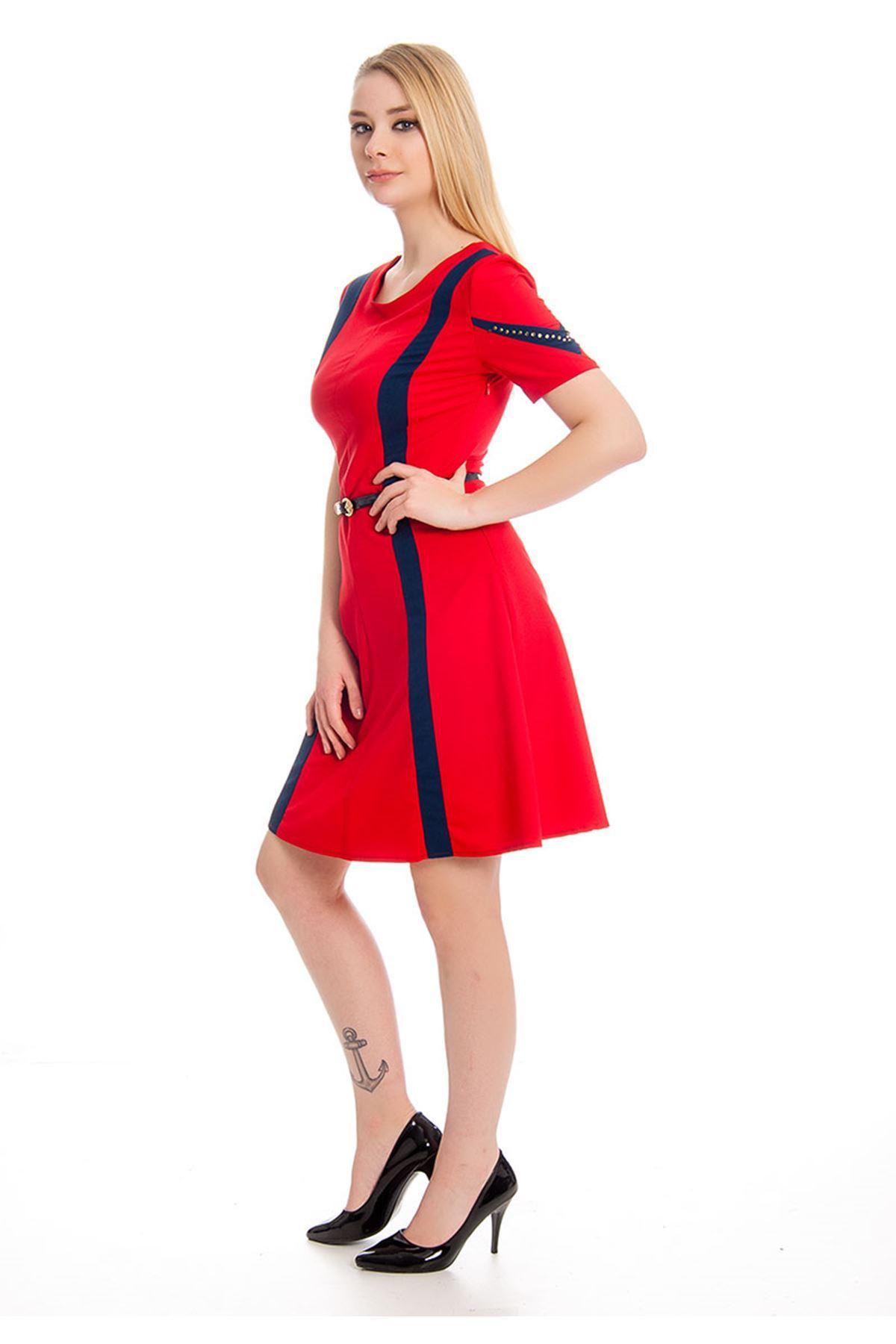 İki Renk Kadın Elbise I4-127973