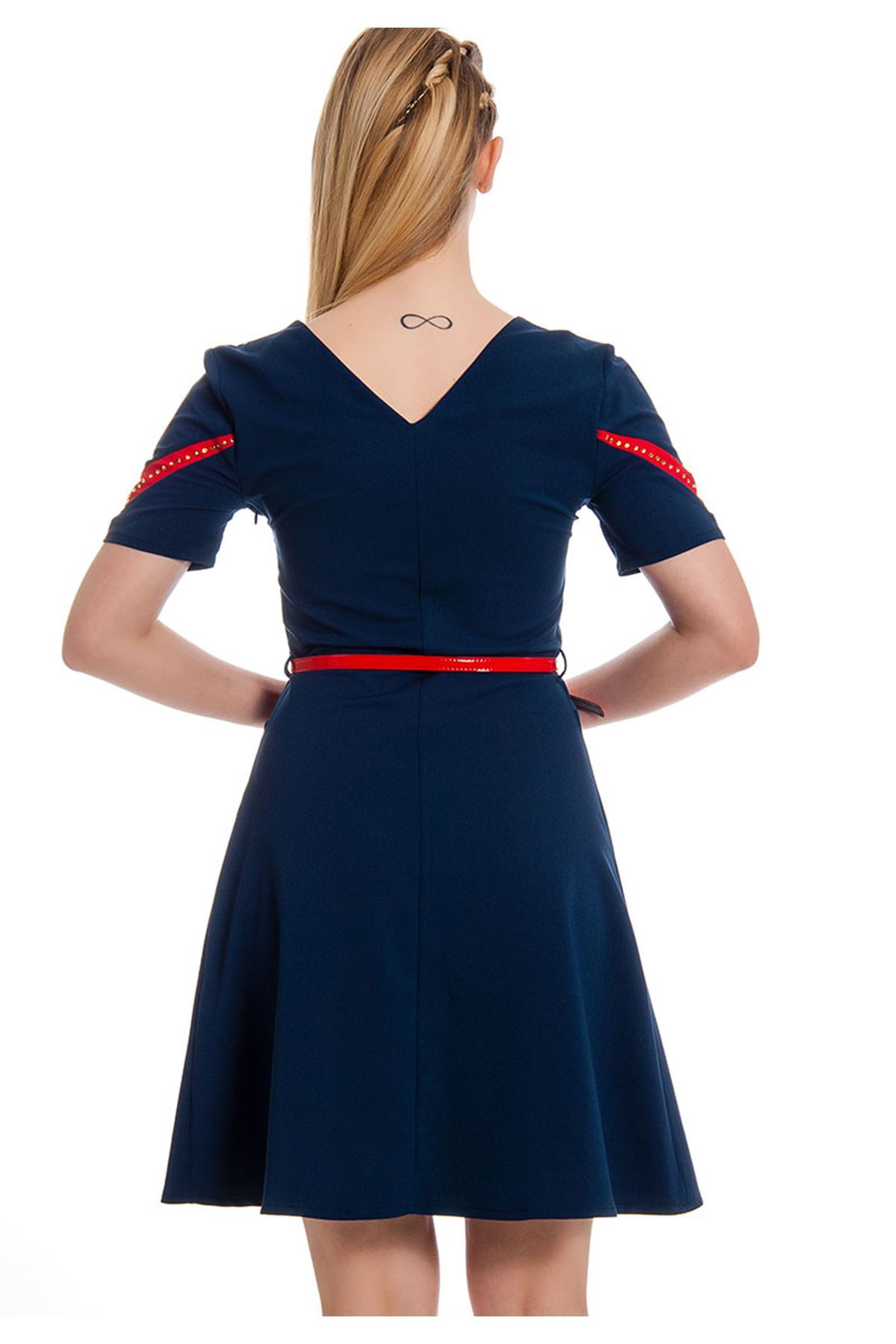 İki Renk Kadın Elbise I4-127965