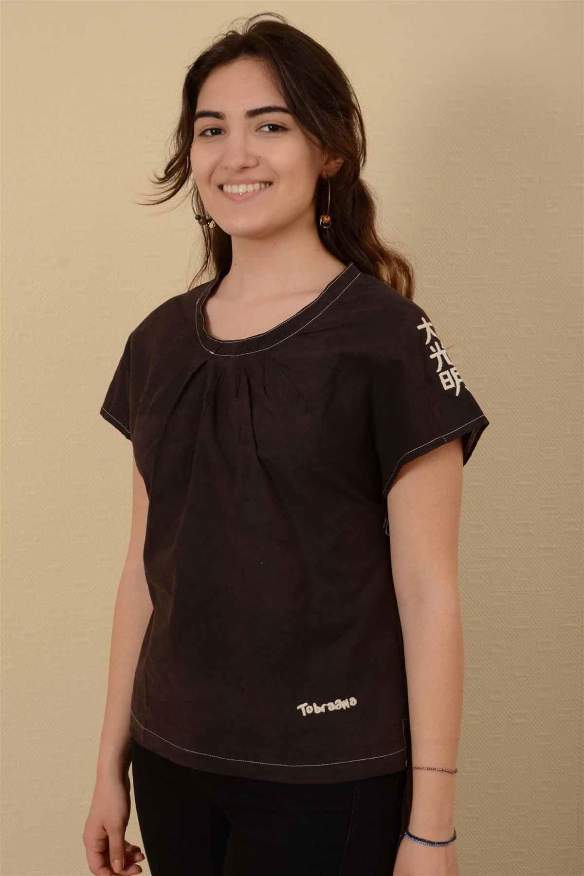 İnci - Pileli Kısa Kollu Bluz K1606