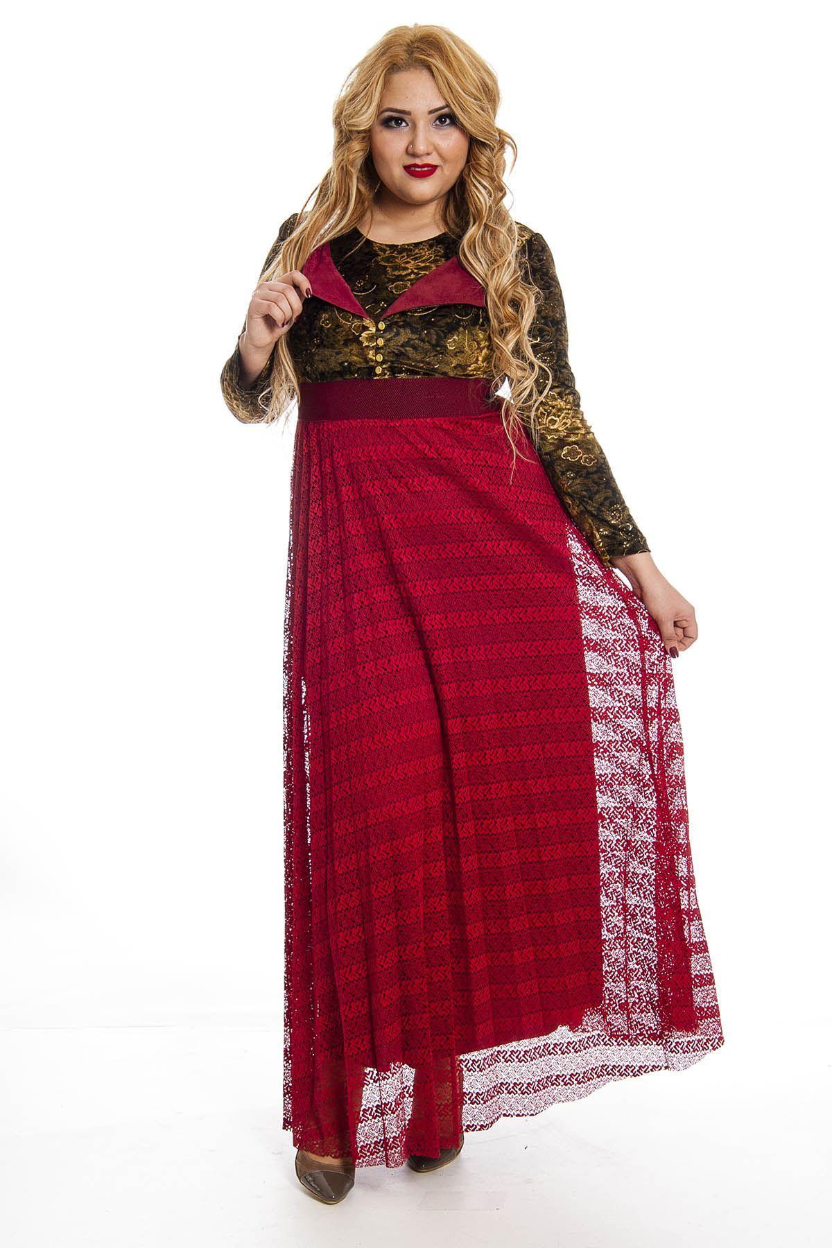 Kadife Desenli Tül Etek Uzun Elbise G8-123142