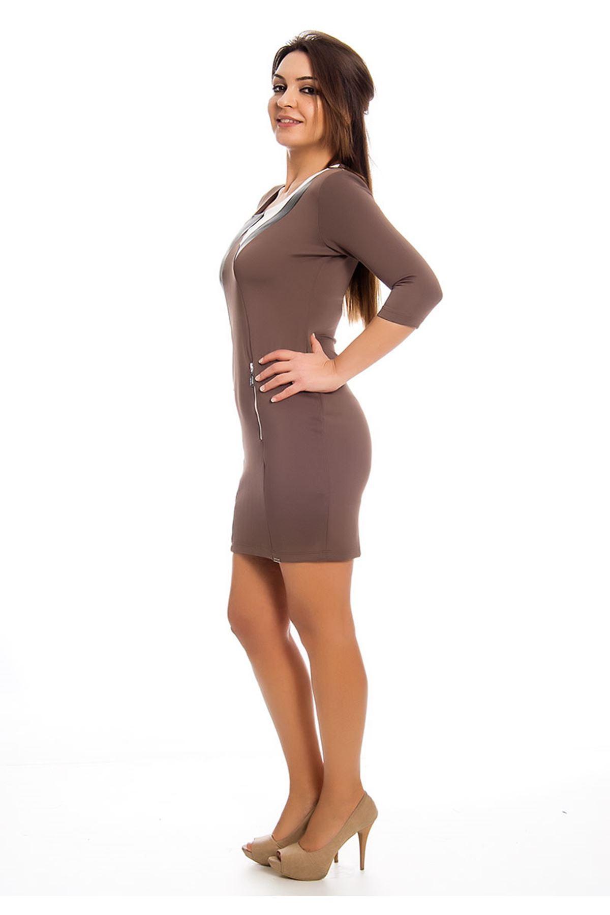 Kahverengi Deri Detaylı Kadın Elbise H12-124521