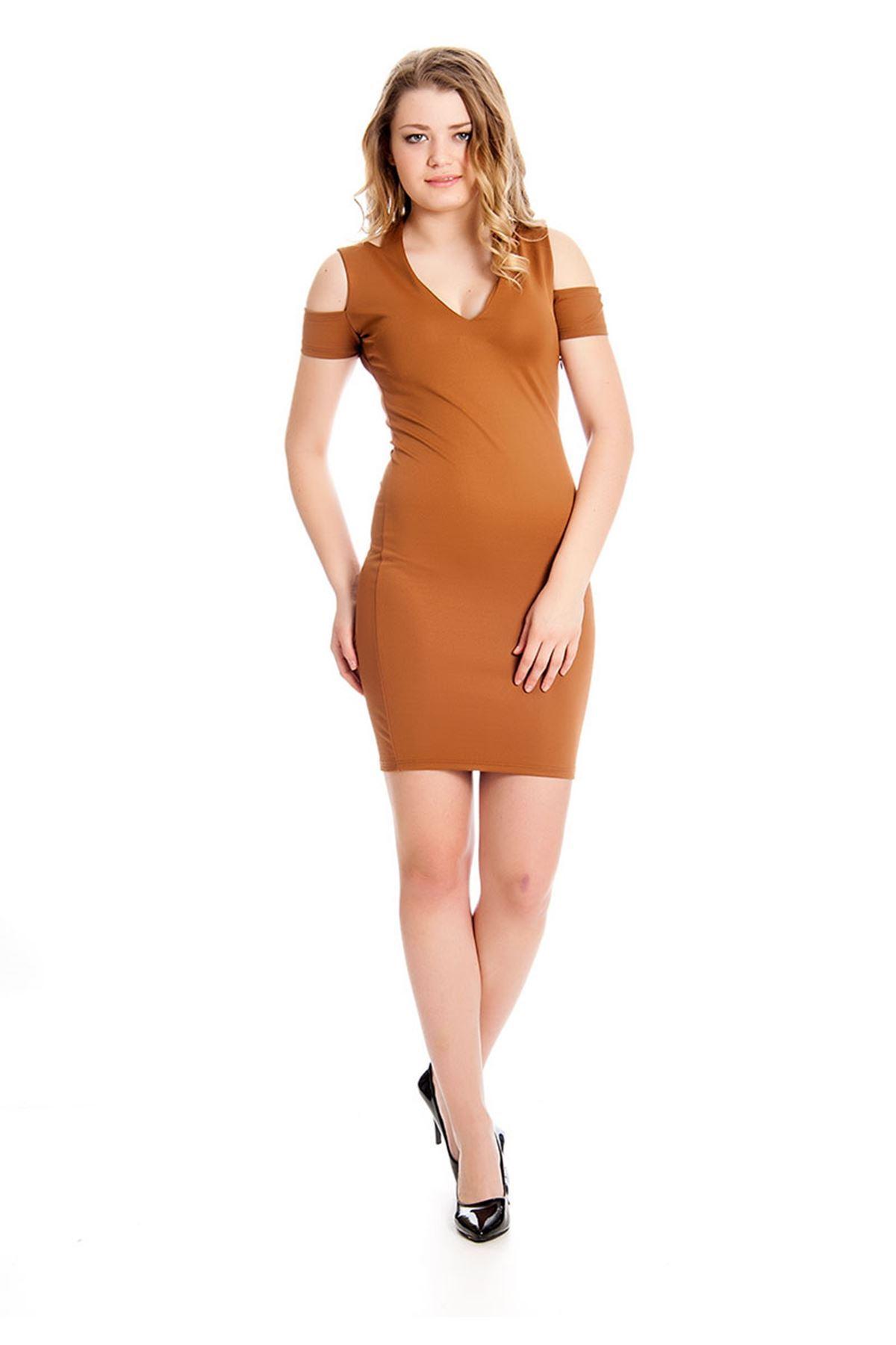 Kahverengi Dekolte Kadın Elbise H9-126912