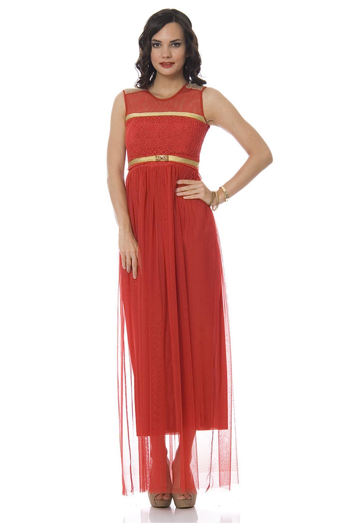 Kırmızı Tüllü Uzun Elbise F1-83579