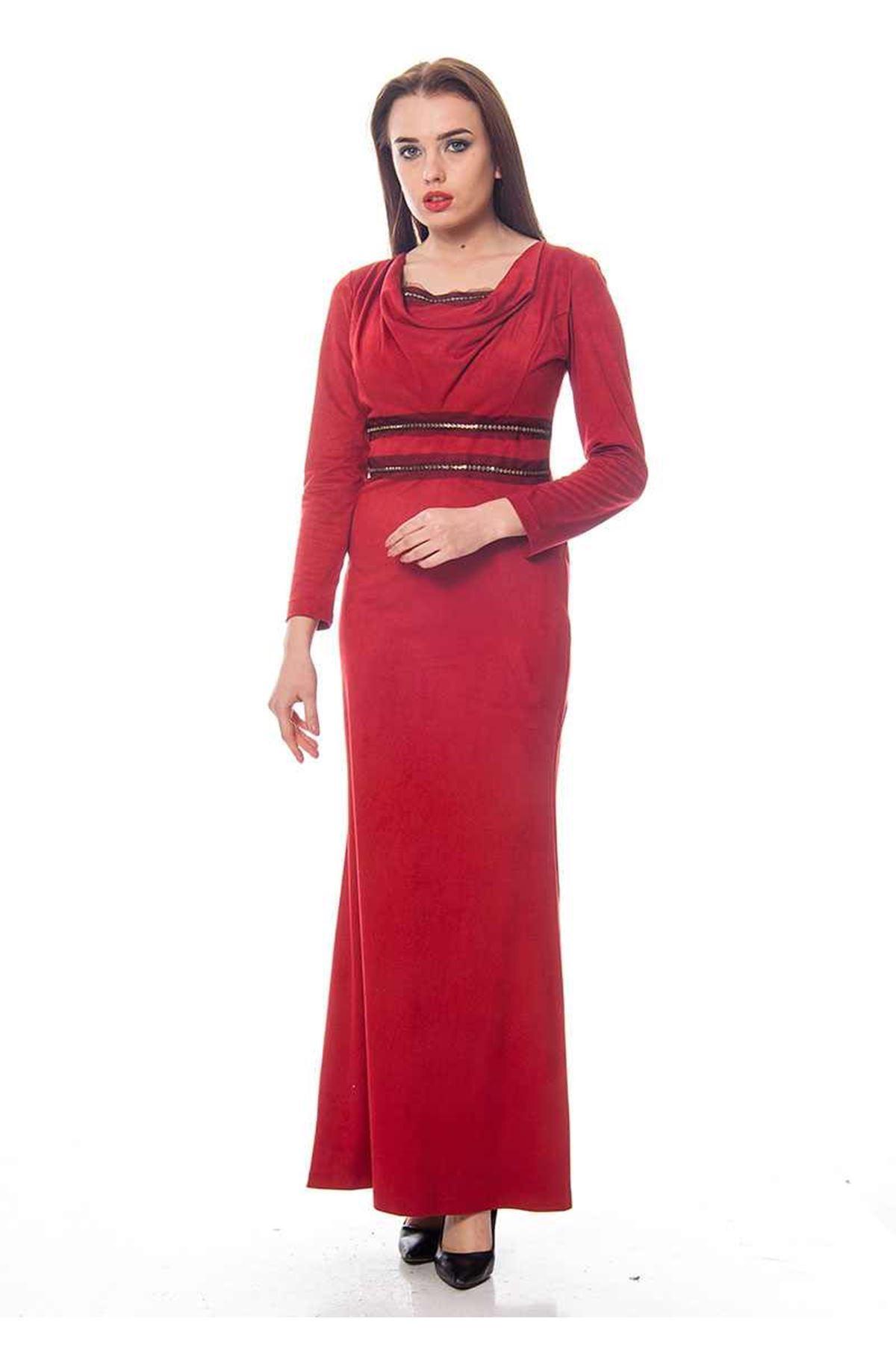Kırmızı Uzun Elbise G1-119096