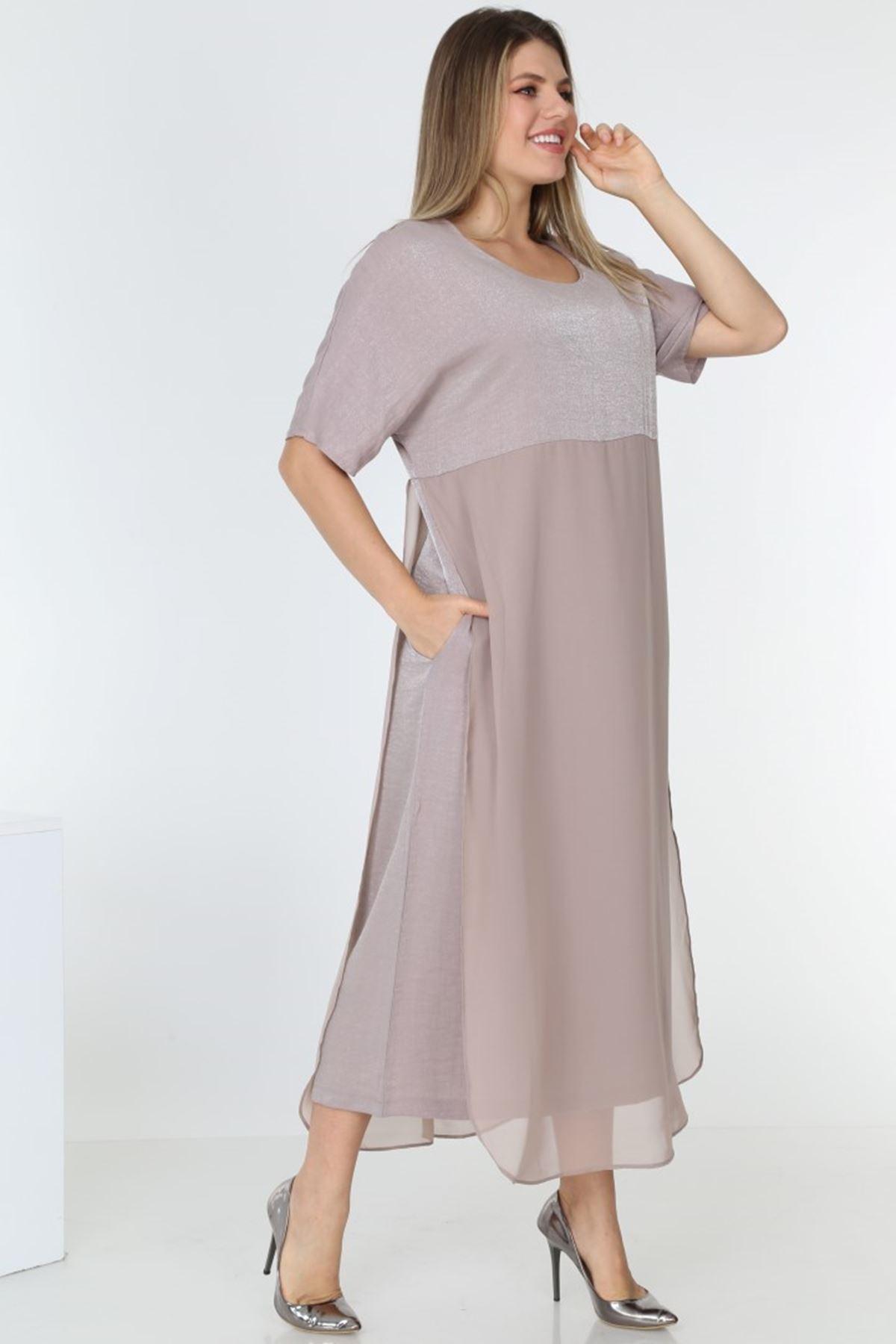 Kısa Kol Uzun Elbise 2B-0561