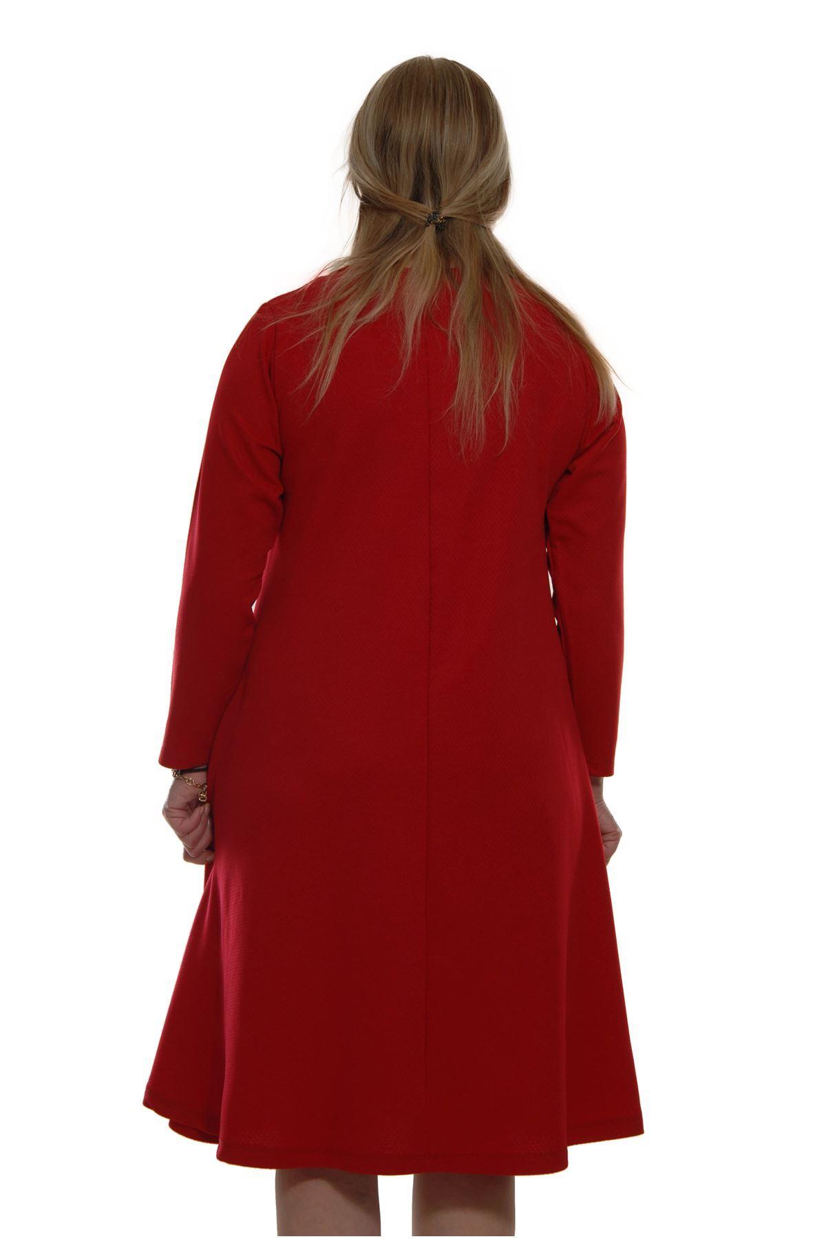Kırmızı Kloş Elbise 21B-69021