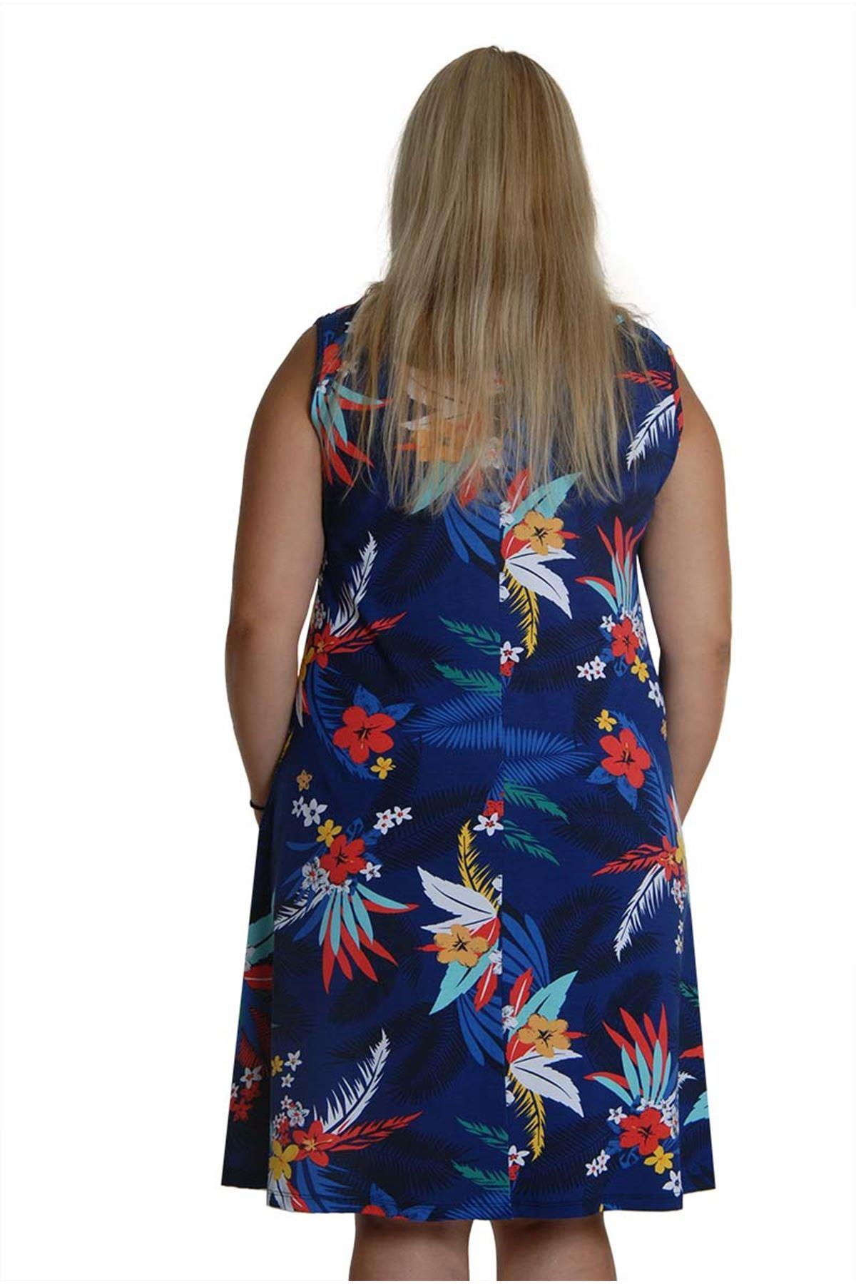 Kolsuz Desenli Elbise 2D-0658