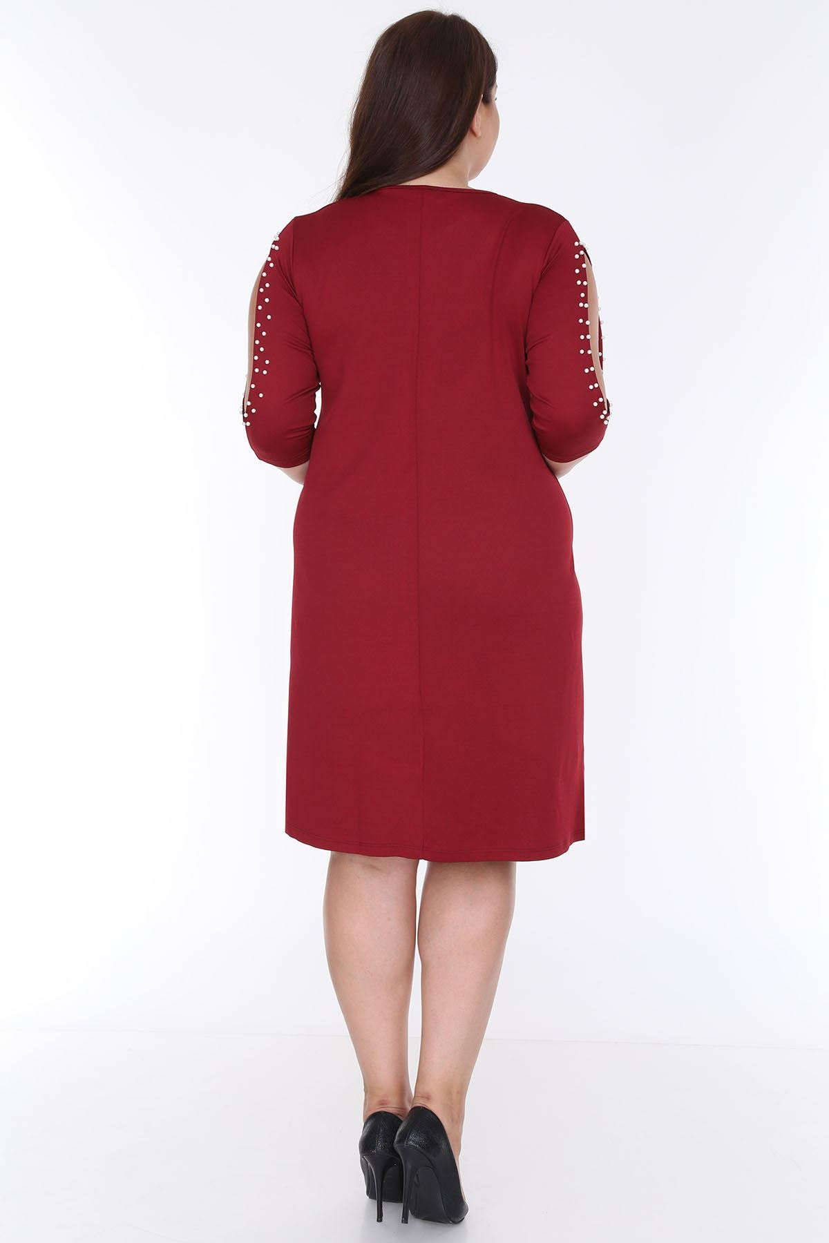 Kol İncili Bordo Elbise 21D-0608