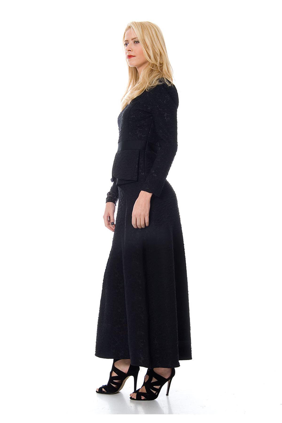 Koyu Lacivert Volanlı Elbise F1-103766