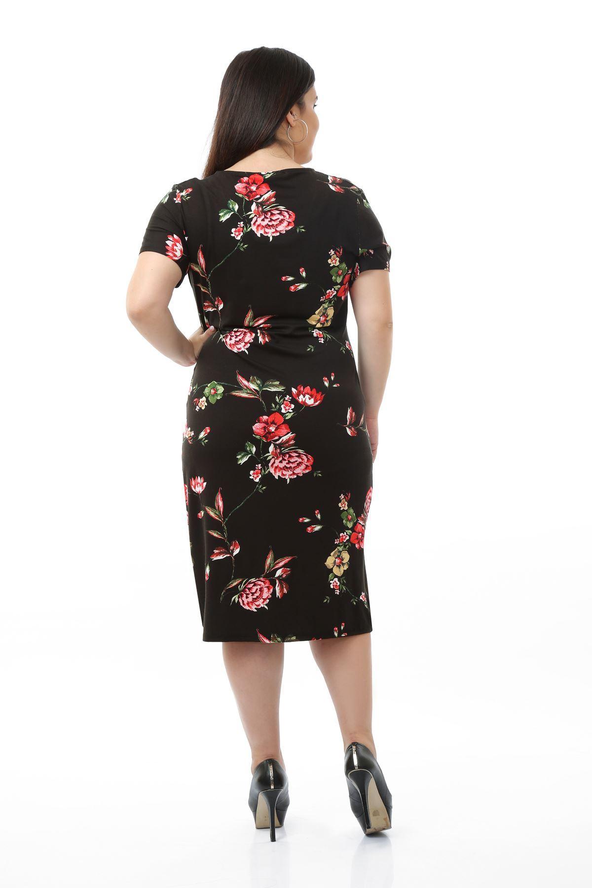 Kruvaze Yaka Siyah Elbise 22E-0656