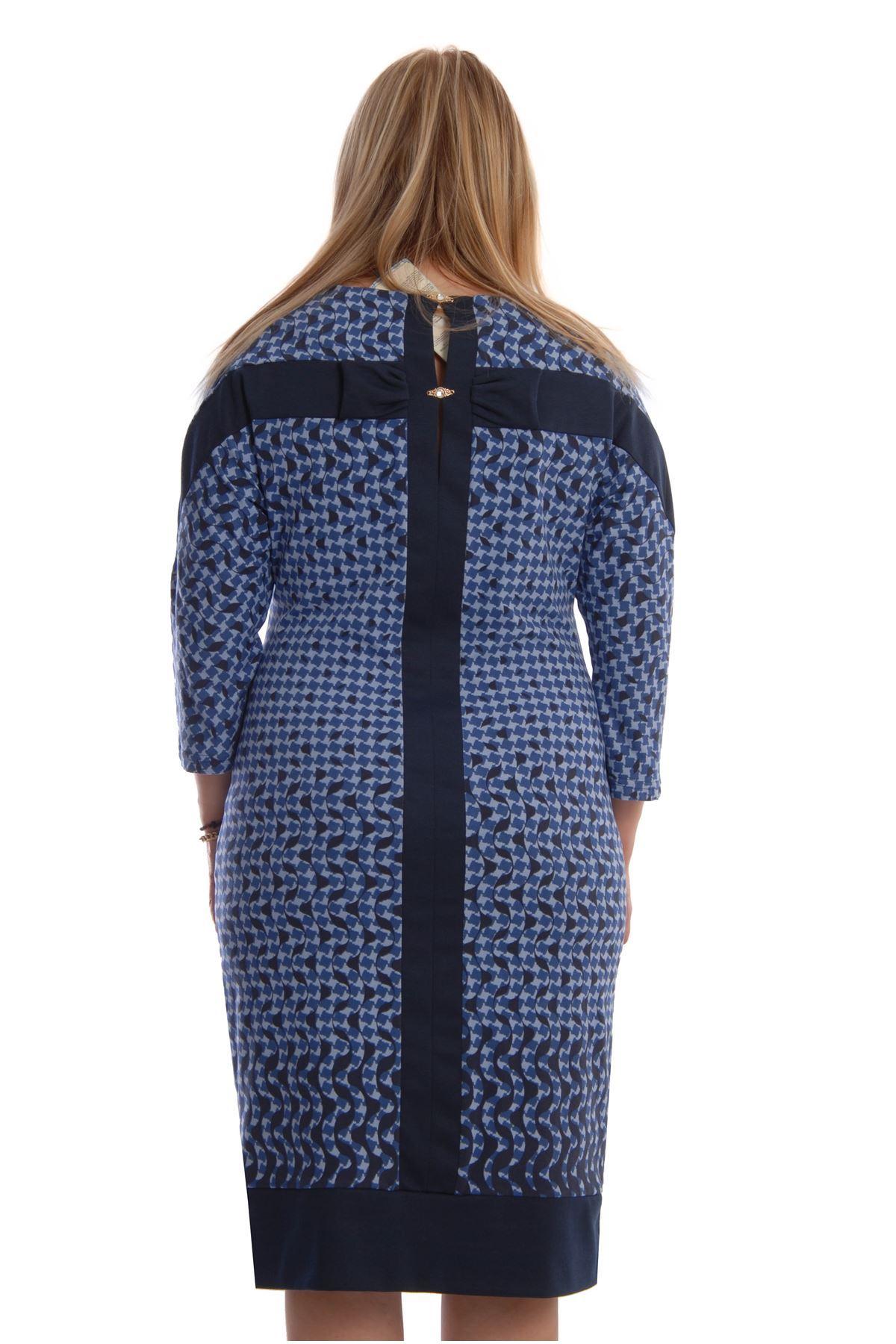 Lacivert Desenli Elbise I4-68468