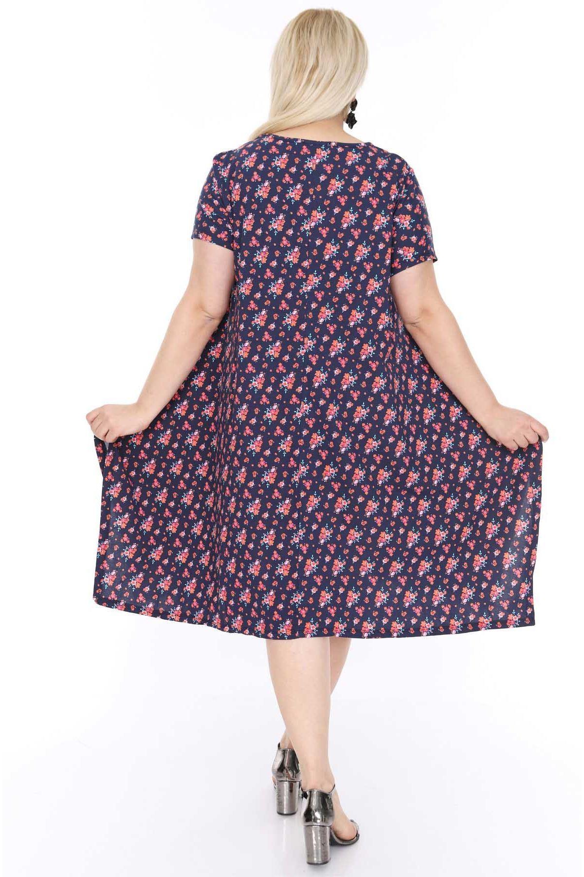 Lacivert Çiçekli Salaş Elbise 21A-68246