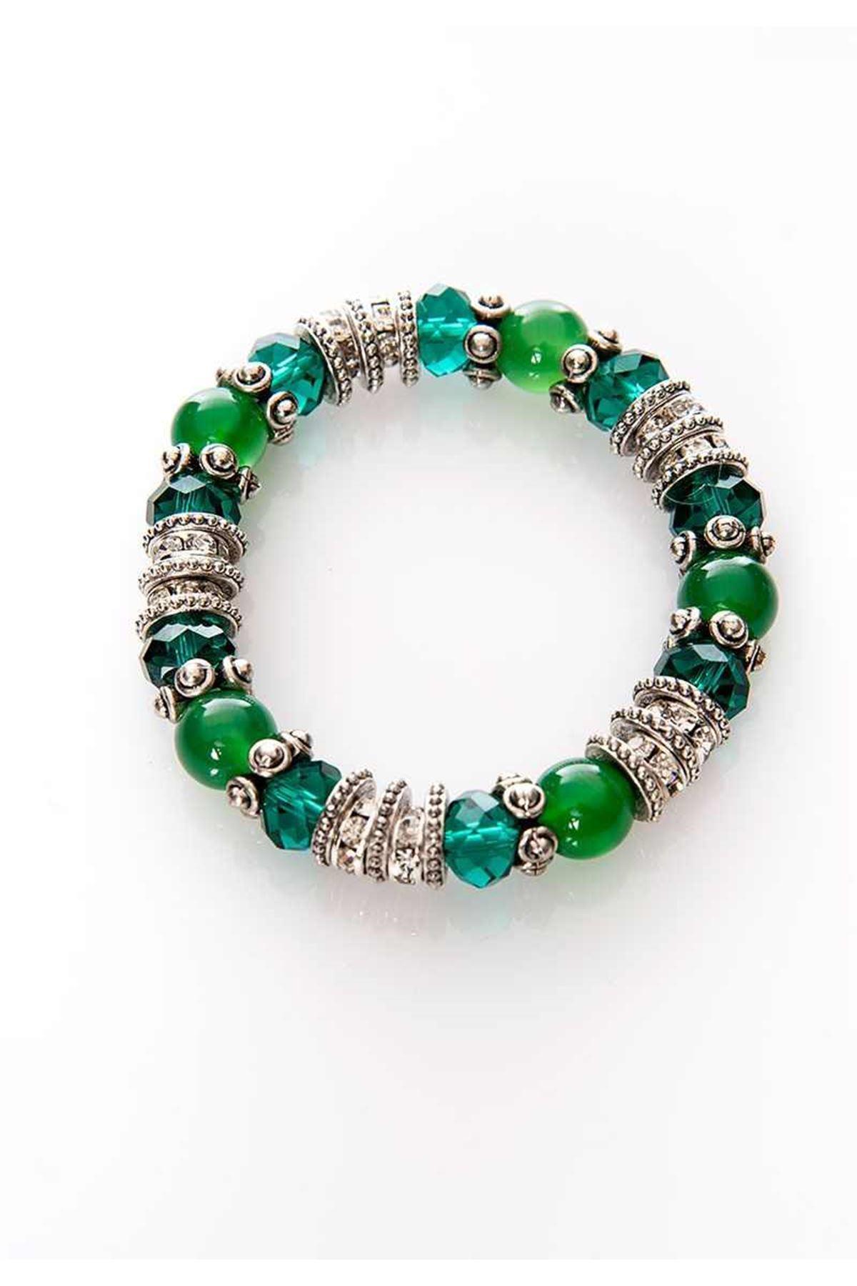 Lastik Yeşil Boncuklu Bileklik 4Ç-108950