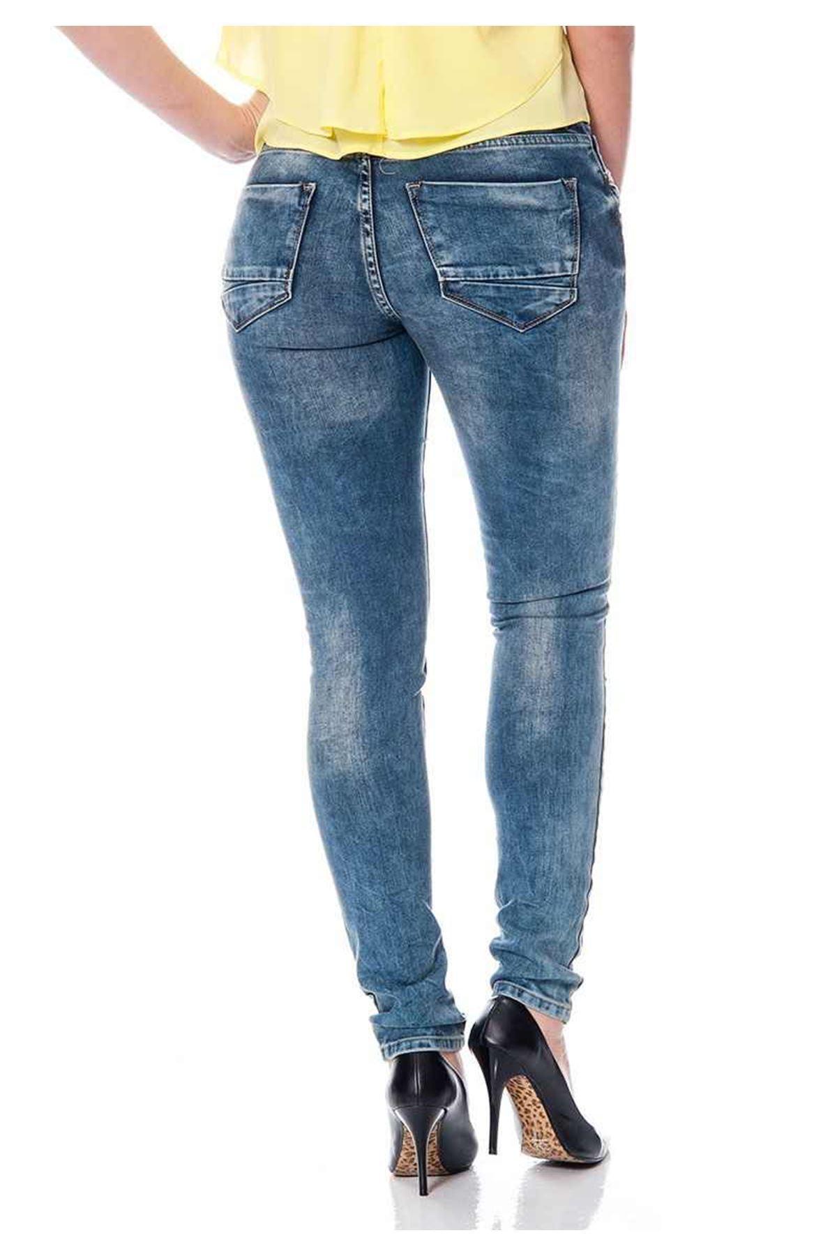 Lacivert Taşlanmış Yırtık Kot Pantolon 5A-110577