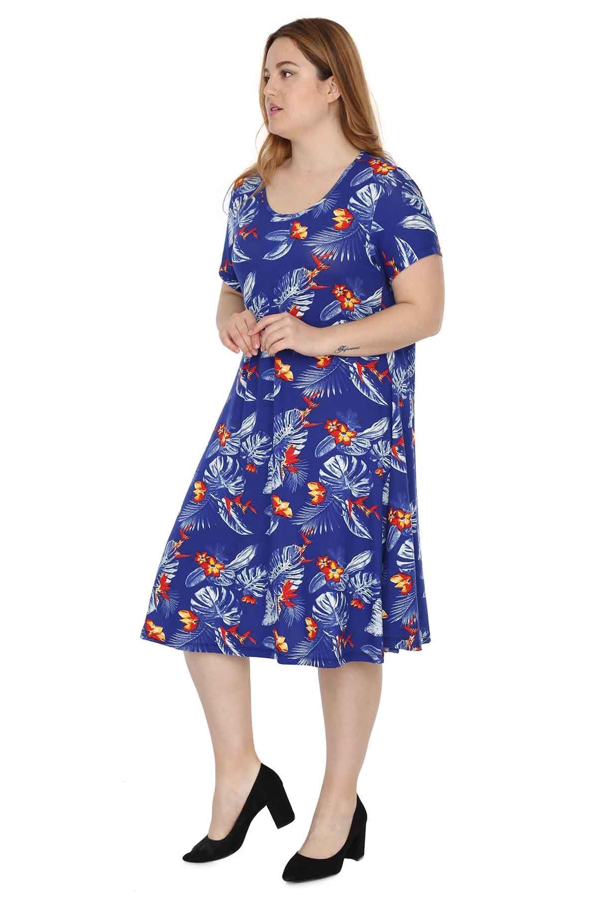 Mavi Kısa Kol Elbise 2A-0530