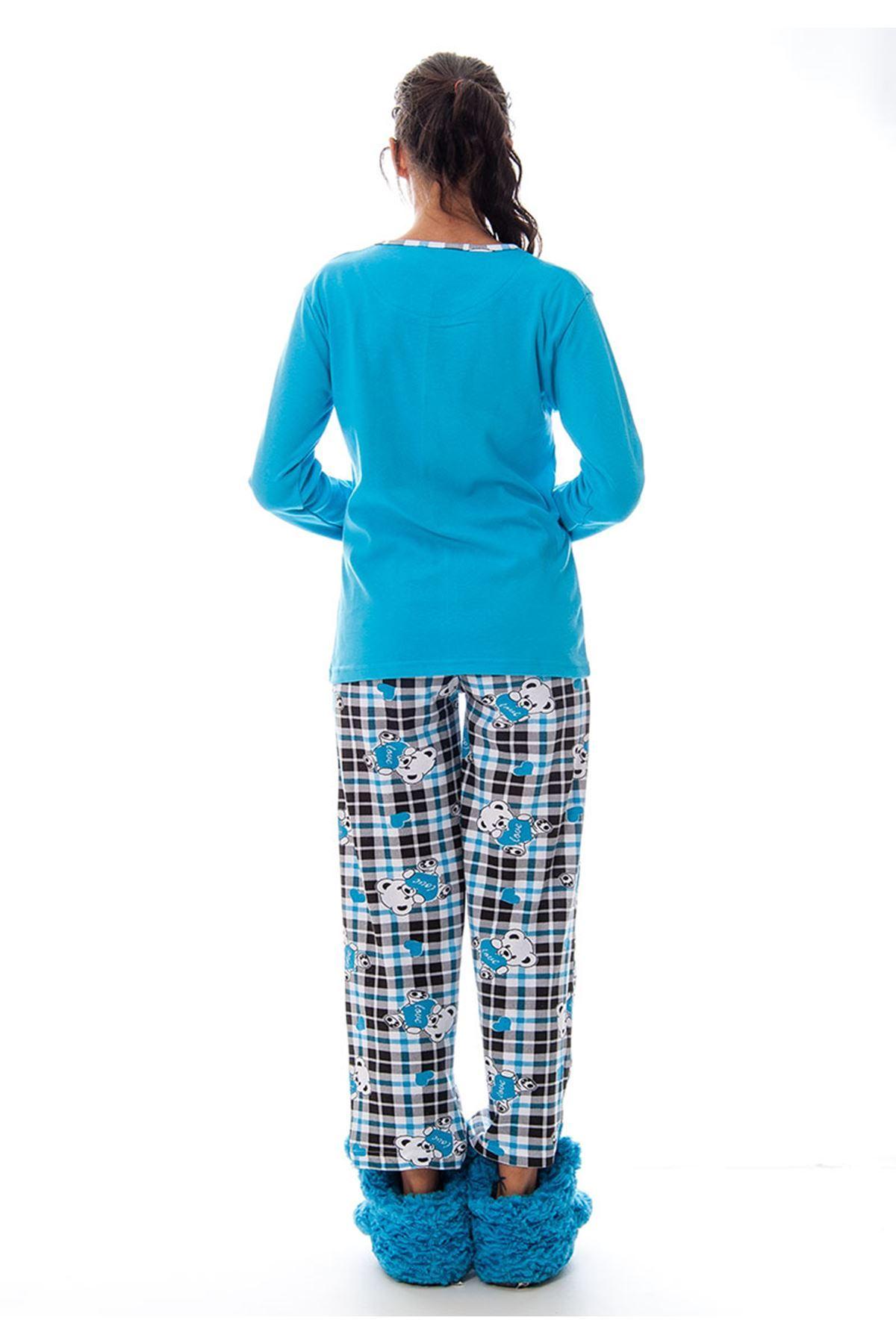 Mavi Ayı Baskılı Kadın Pijama Takımı 14C-120330