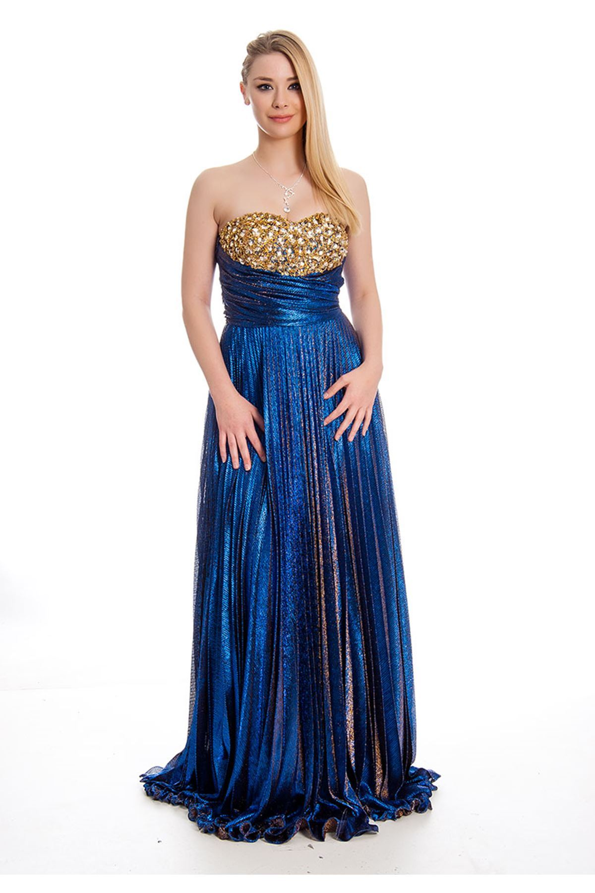 Mavi Taşlı Abiye J9-115101