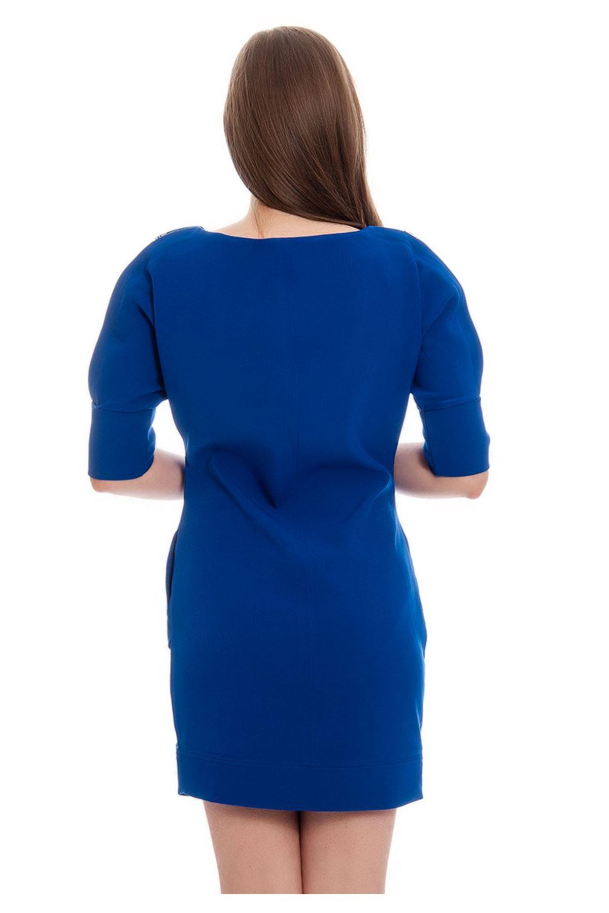 Mavi Kol Detaylı Kadın Elbise J2-122165