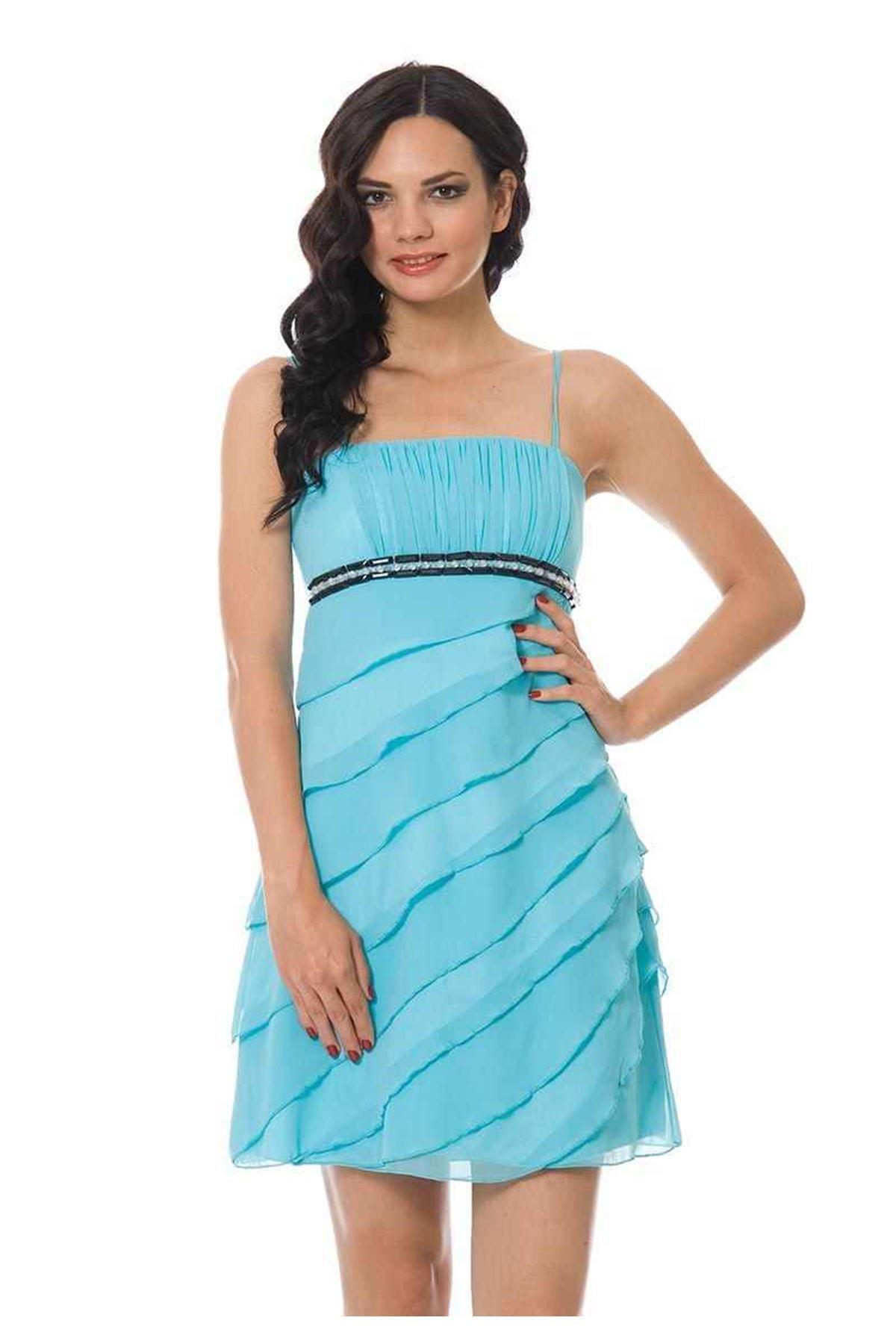 Mavi Siyah Taşlı Elbise I4-84240